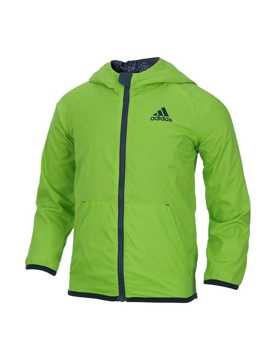 Adidas Light Green Fleece & Soft Shell Jackets