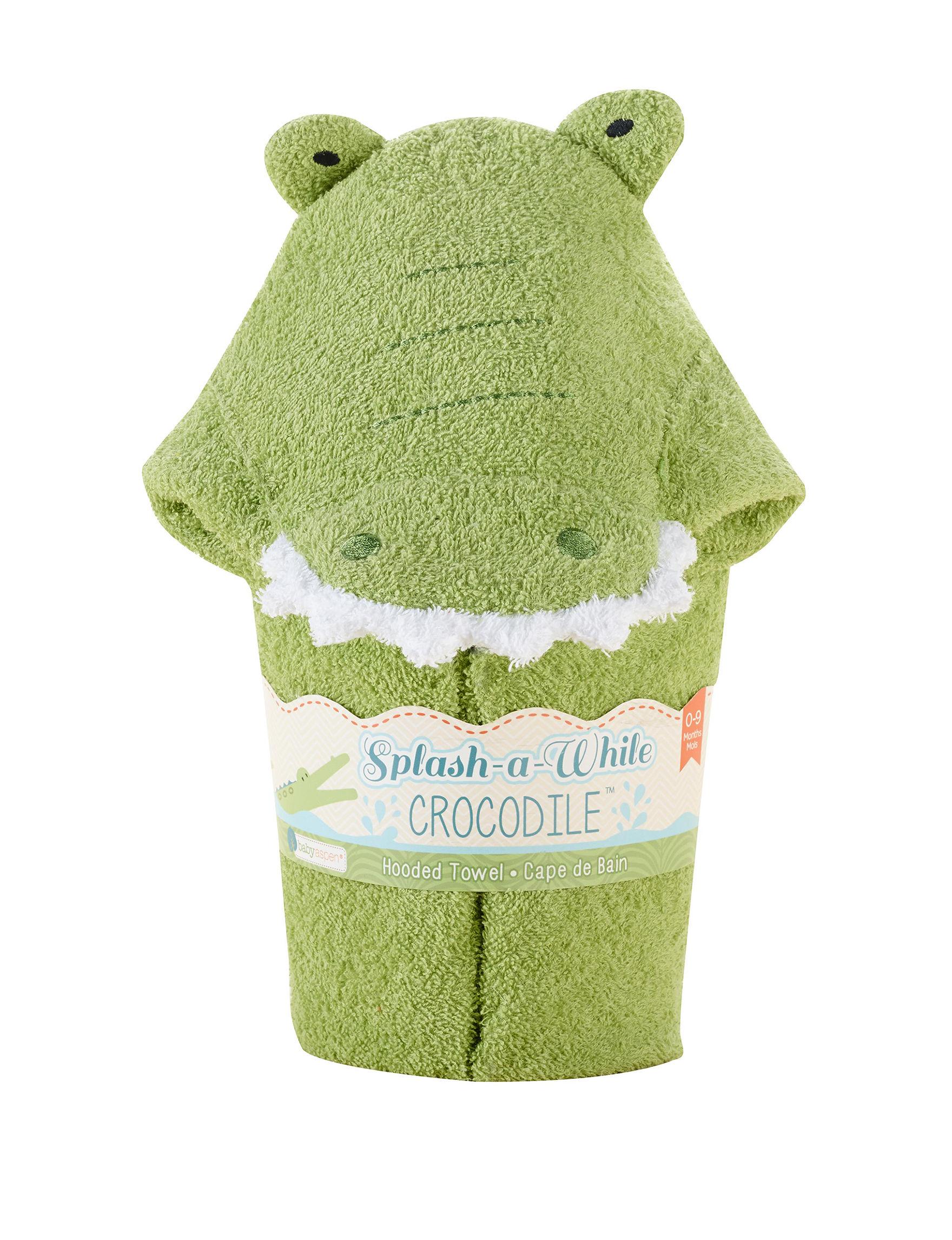 Baby Aspen Green Hooded Towels