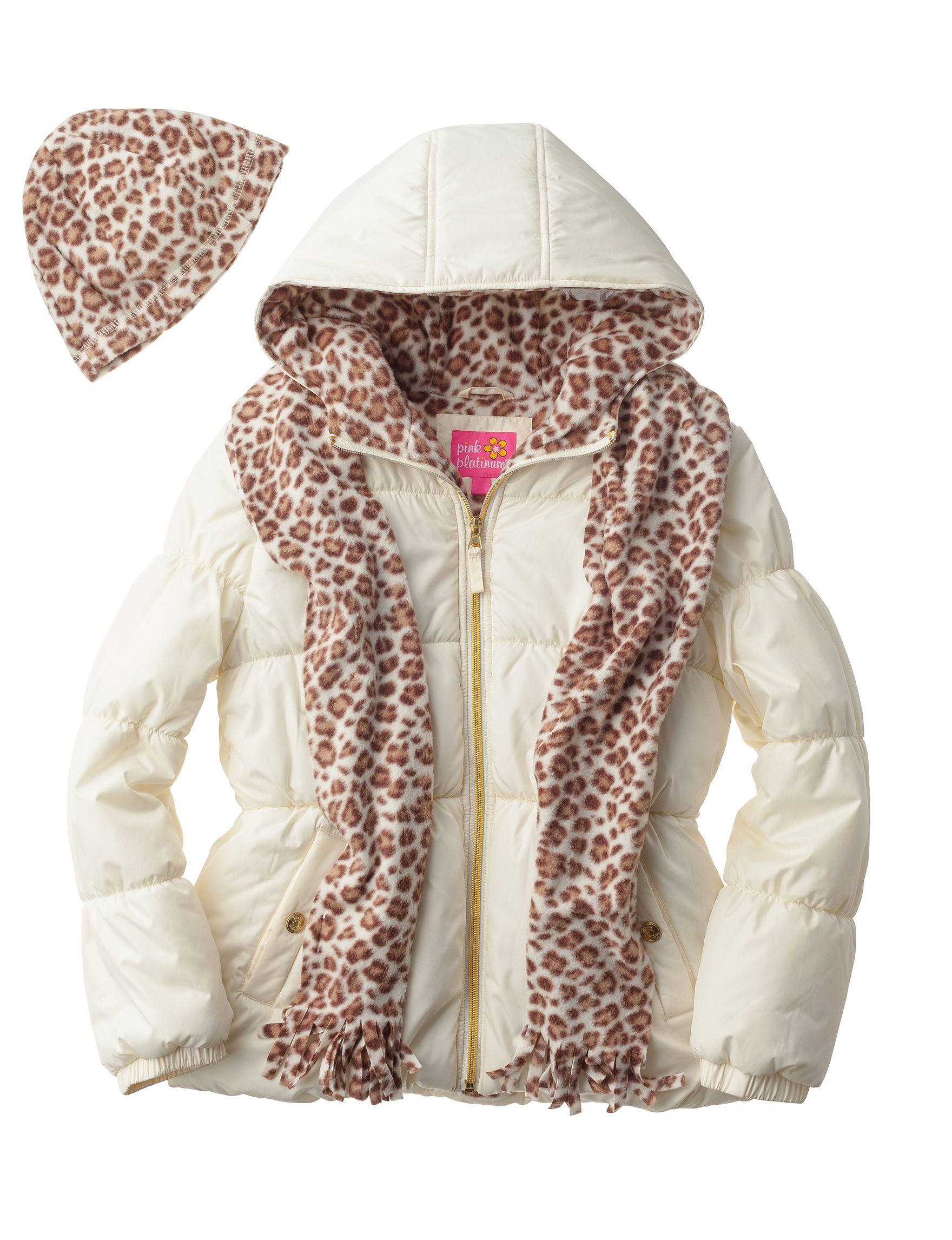 I Apparel Cream Puffer & Quilted Jackets