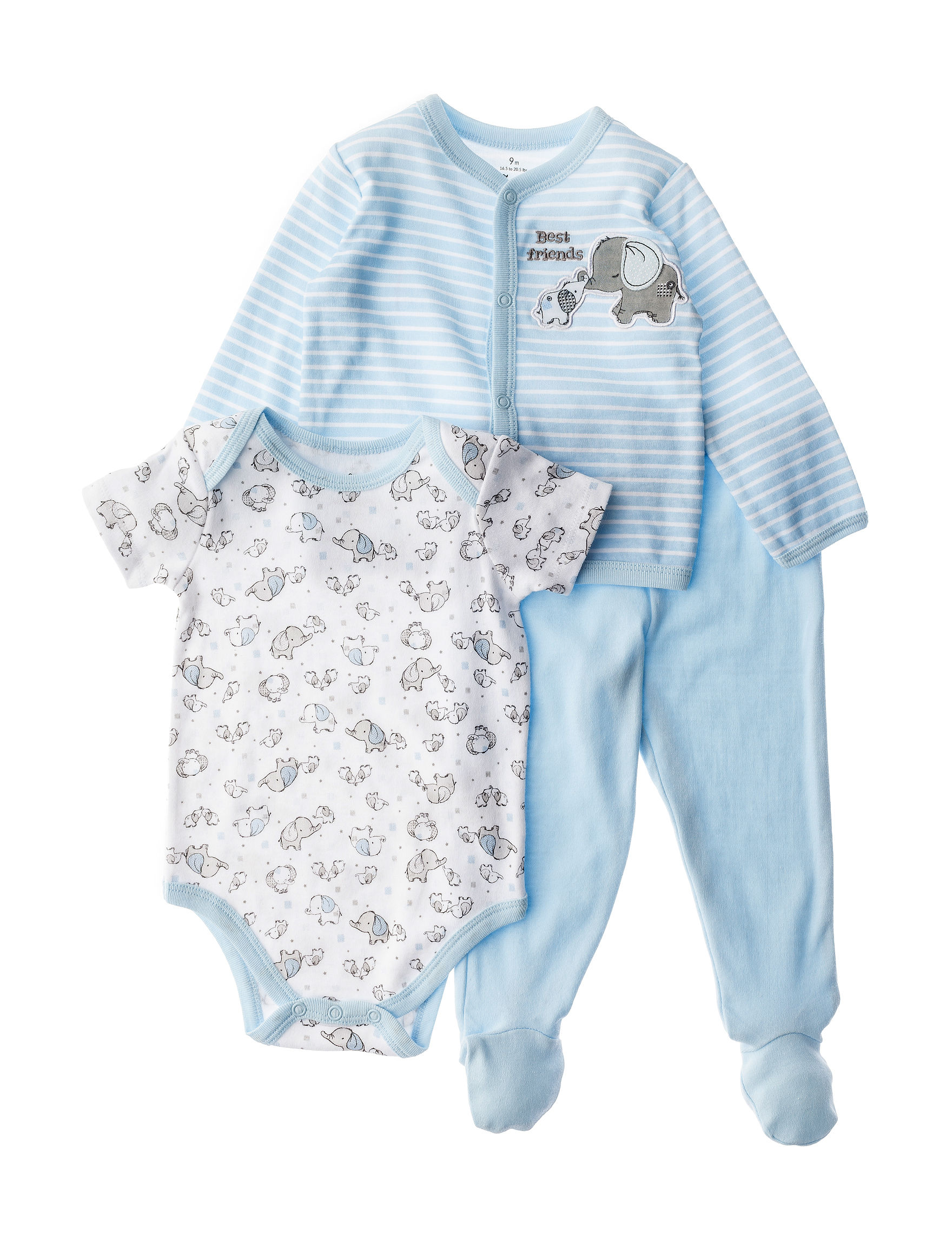 Baby Starters 3 pc Elephant Shirt Bodysuit & Sleeper Set Baby 3
