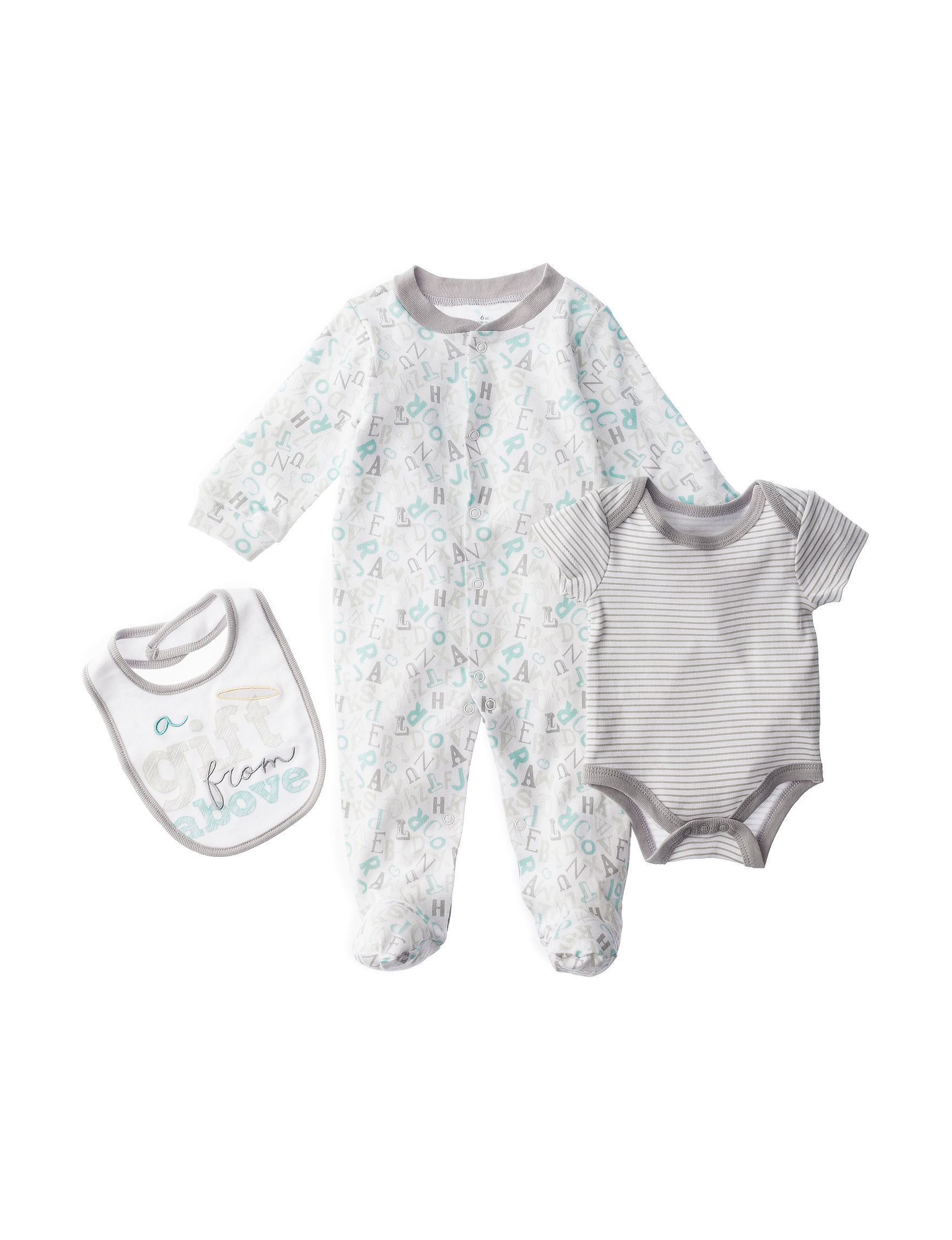 """Baby Starters 3 pc """"A Gift From """" Bodysuit & Sleeper with Bib"""