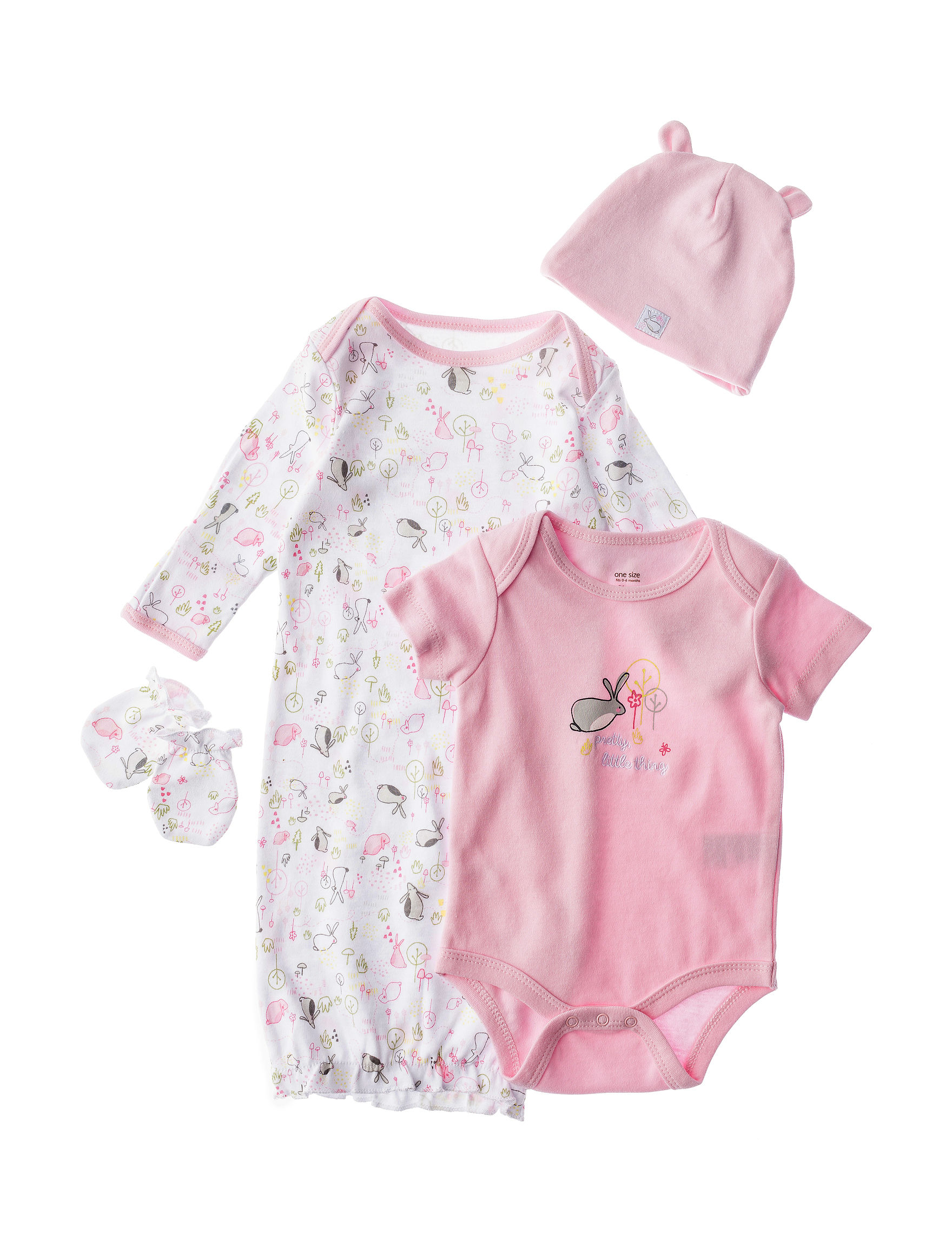 Baby Starters 2 pc Bunny Gown With Cap & Glove Set Baby 0 6 Mos