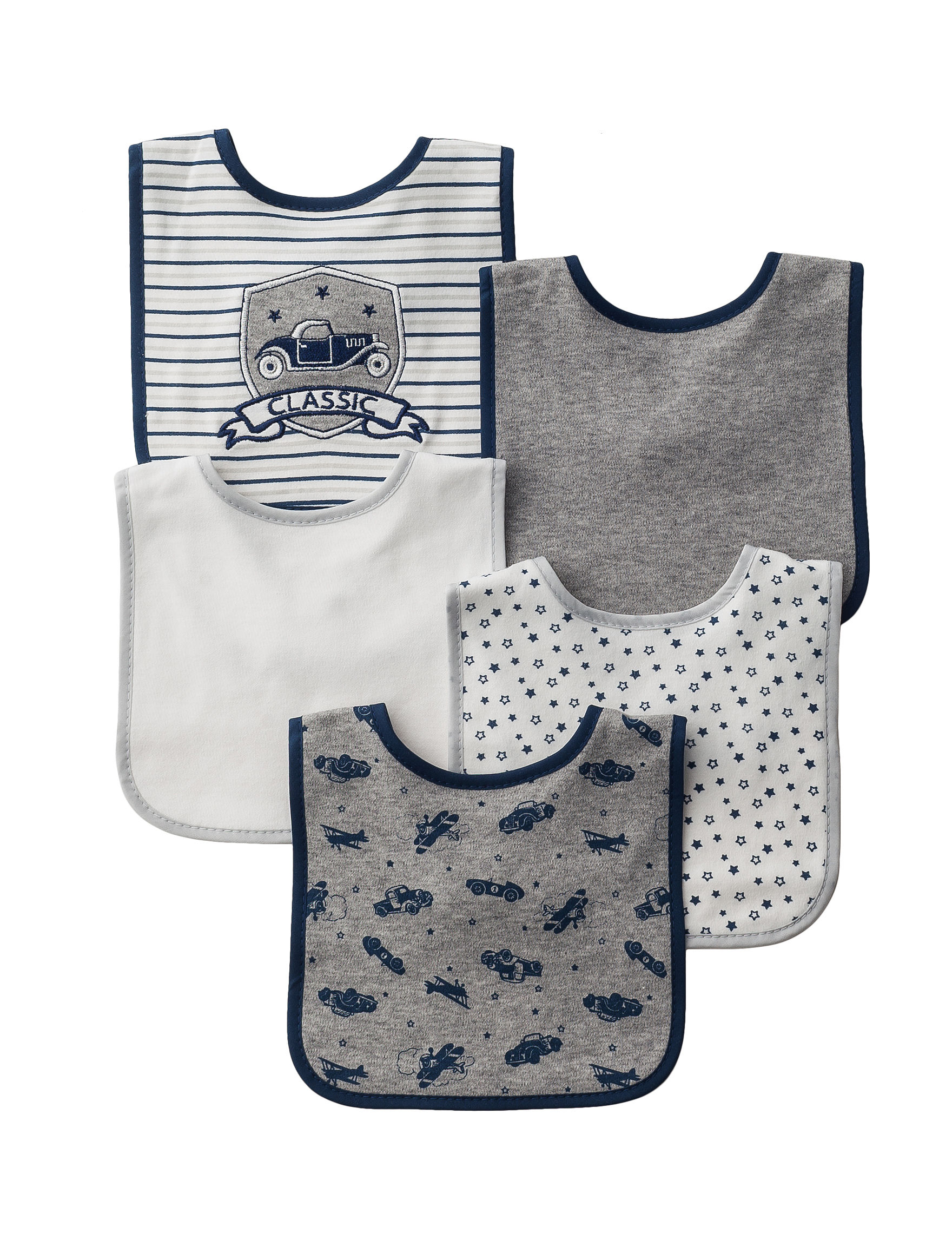 Kyle & Deena Navy Bibs & Burp Cloths