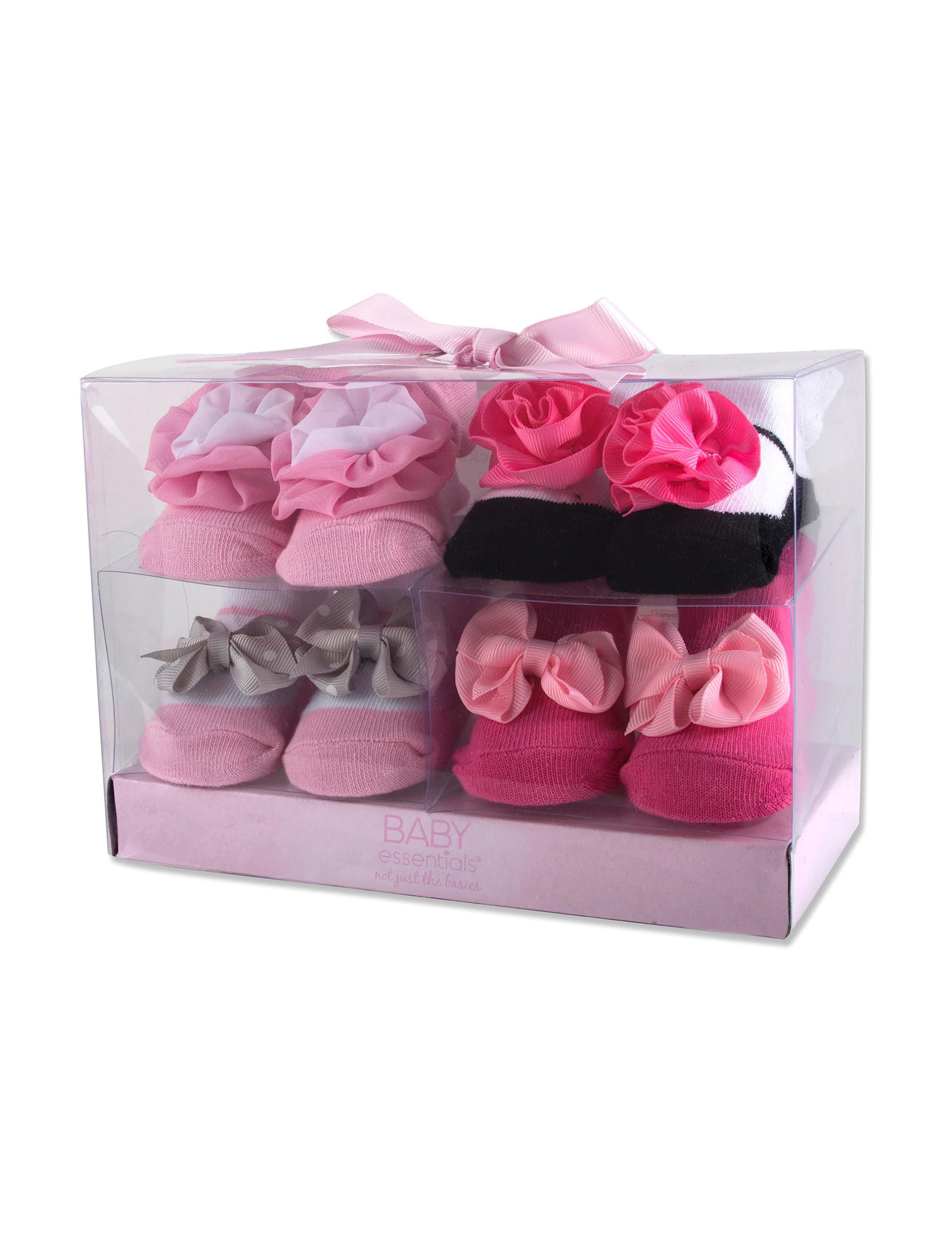 Baby Essentials 4 Pk Flower Appliqu Sock Set Baby 0 9 Mos