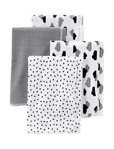 Carter's White / Black Bibs & Burp Cloths