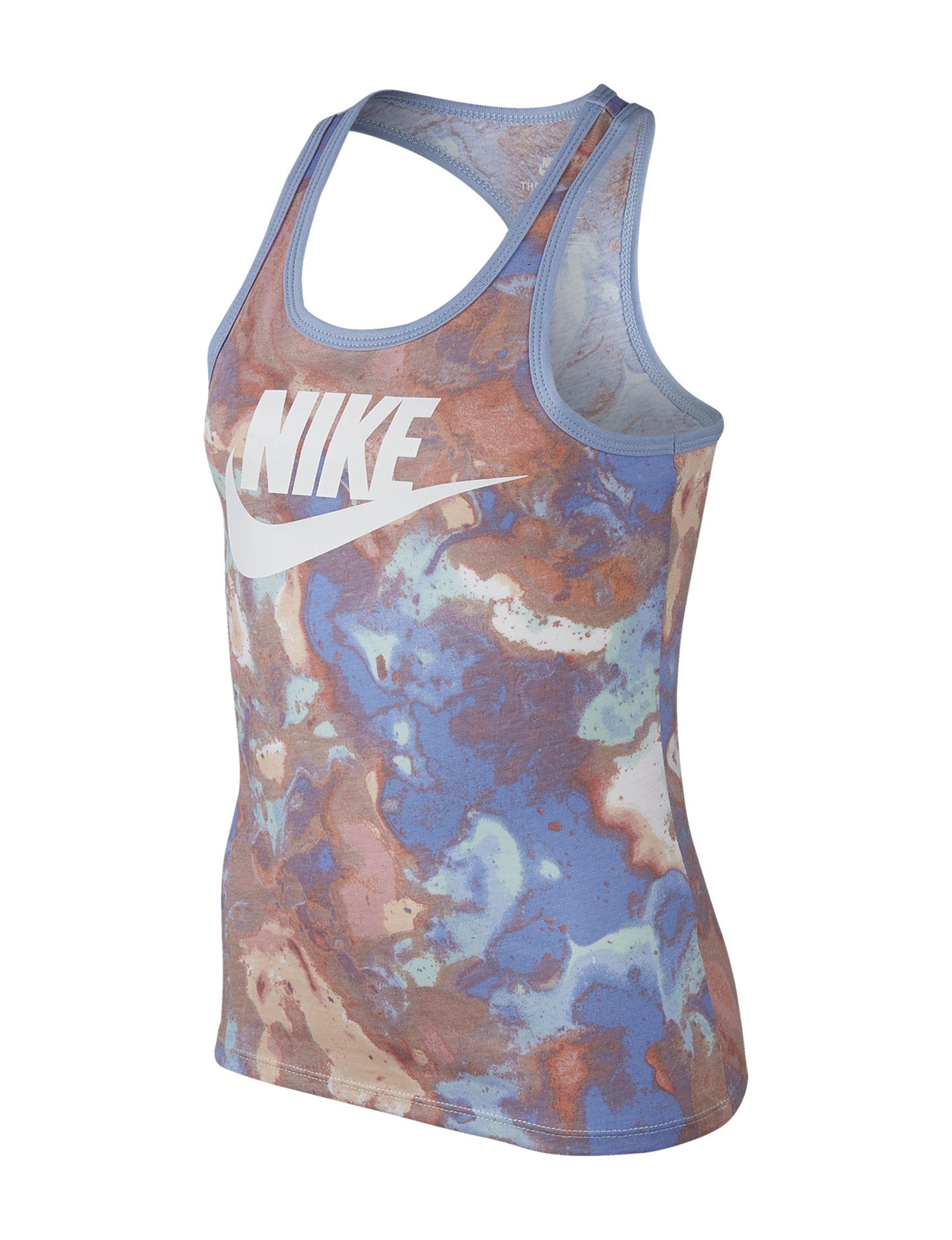 Nike Brown / Blue Tees & Tanks
