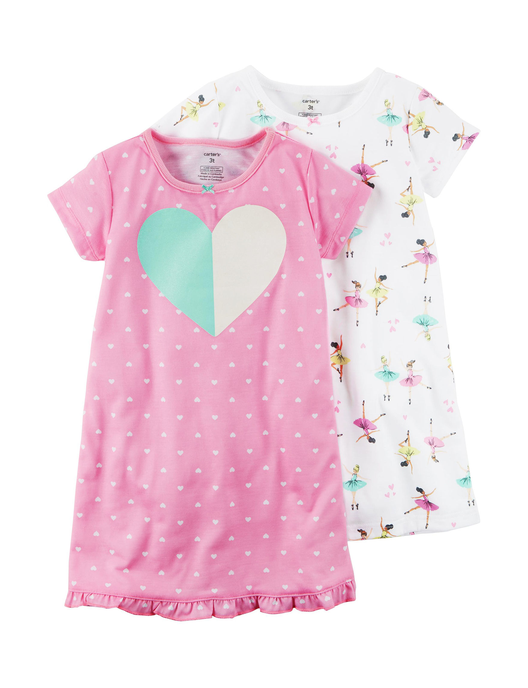 Carter's Pink / White Nightgowns & Sleep Shirts