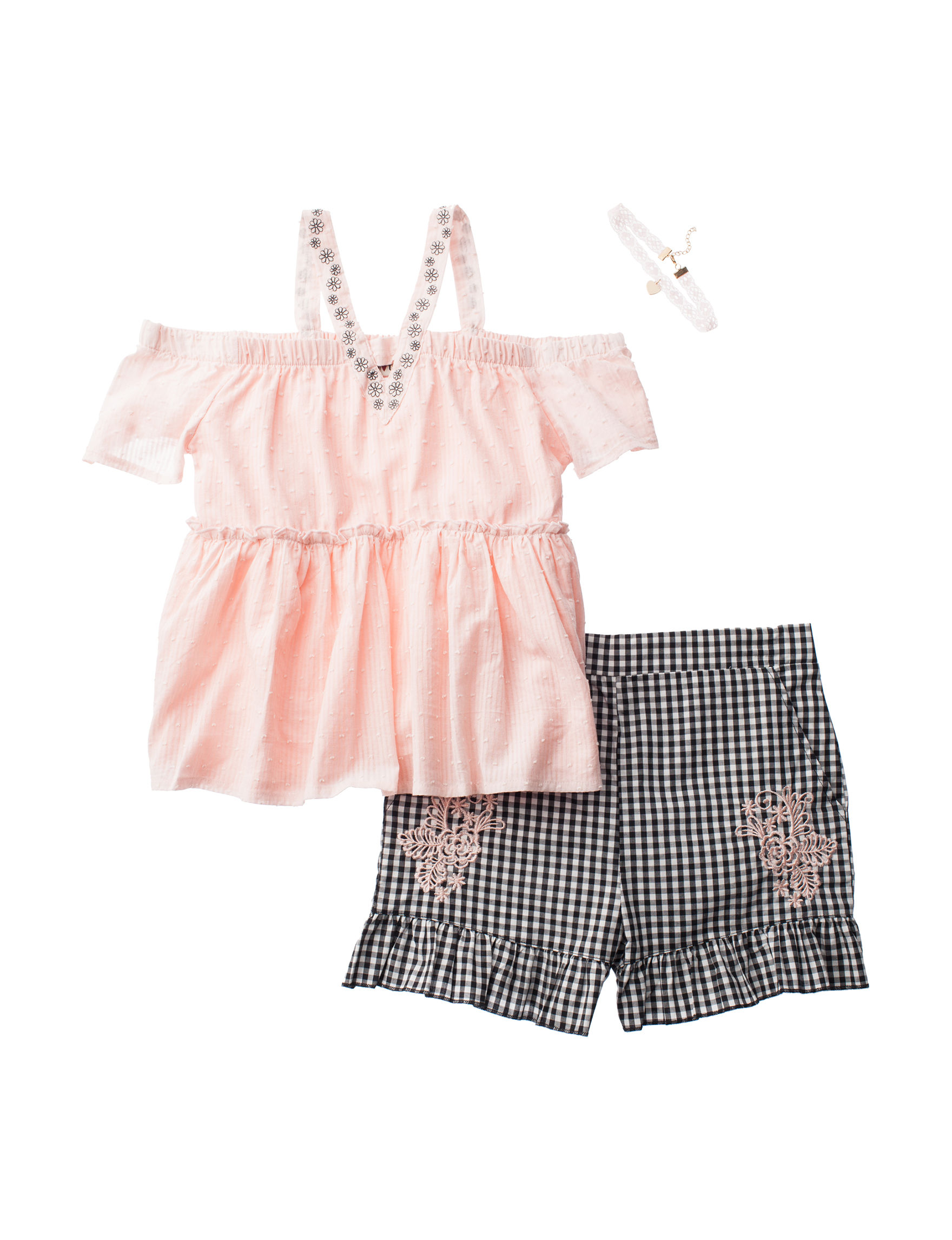 Satin Flowers 2 Pc Cold Shoulder Gingham Top Shorts Set Girls 7