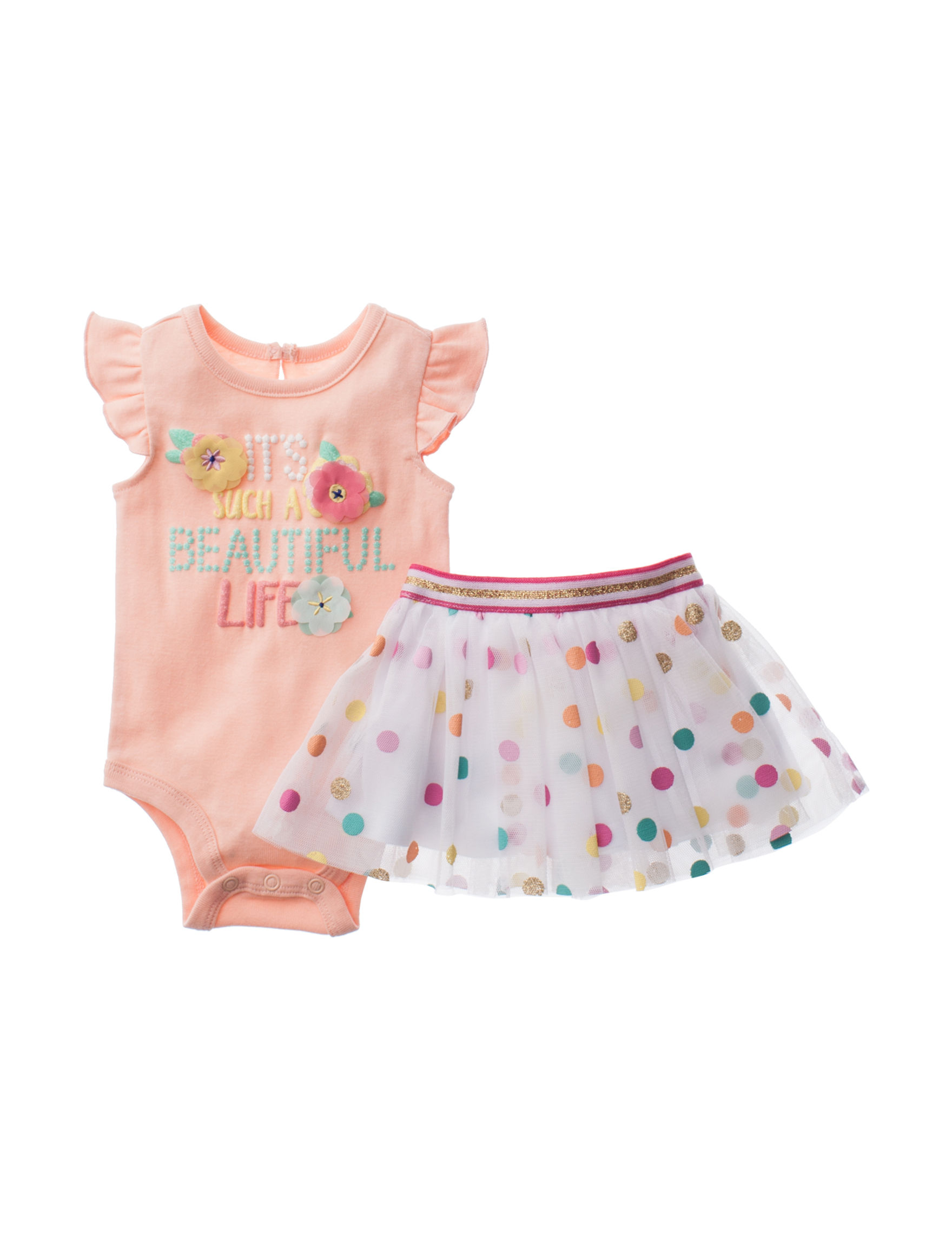 "Baby Starters 2 pc ""Beautiful"" Bodysuit & Skirt Set Baby 3 9 Mos"