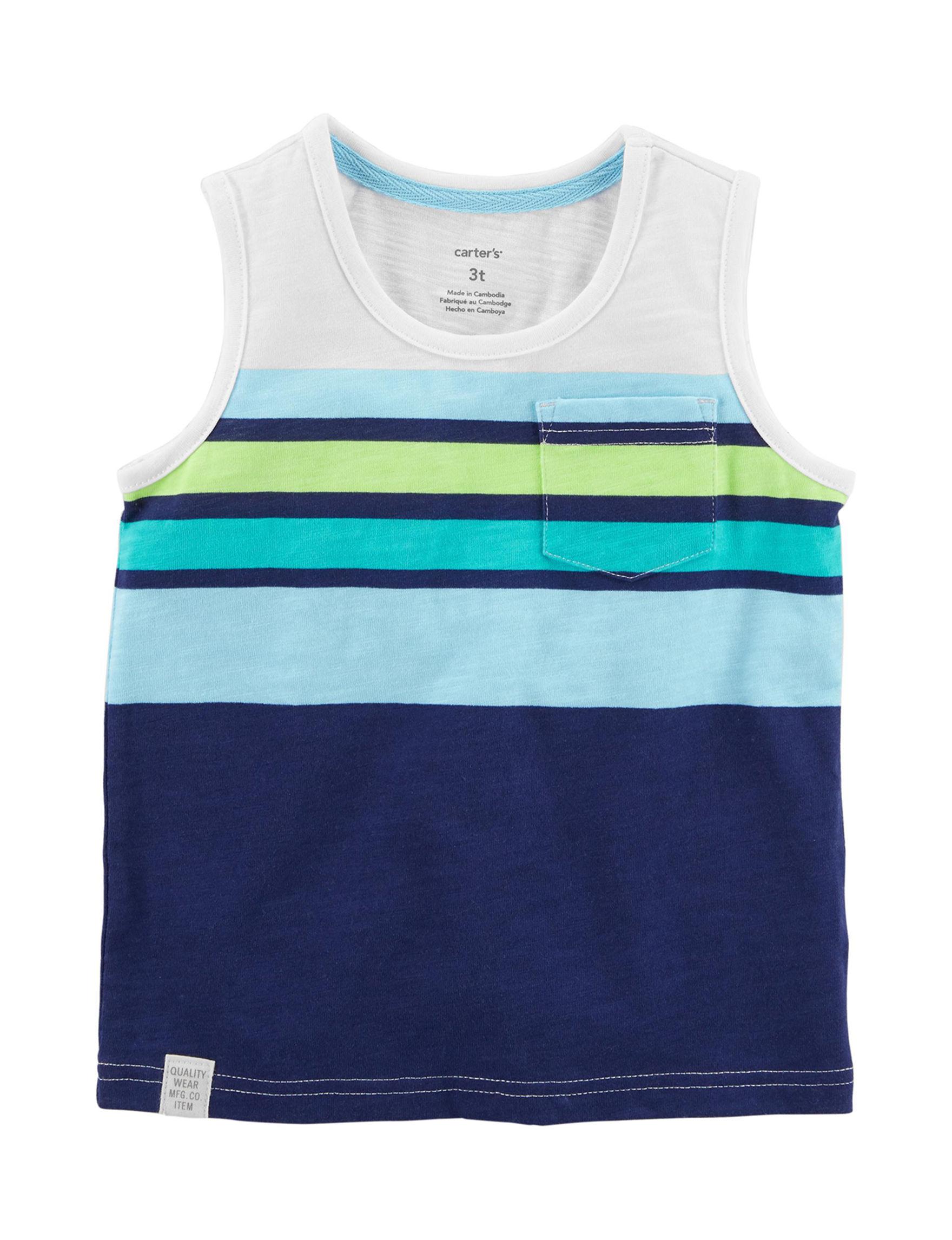 Carter's Blue Stripe Tees & Tanks