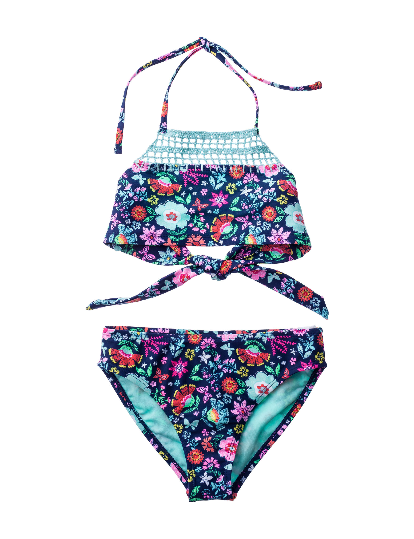 Angel Beach Navy Floral Swimsuit Sets Halter