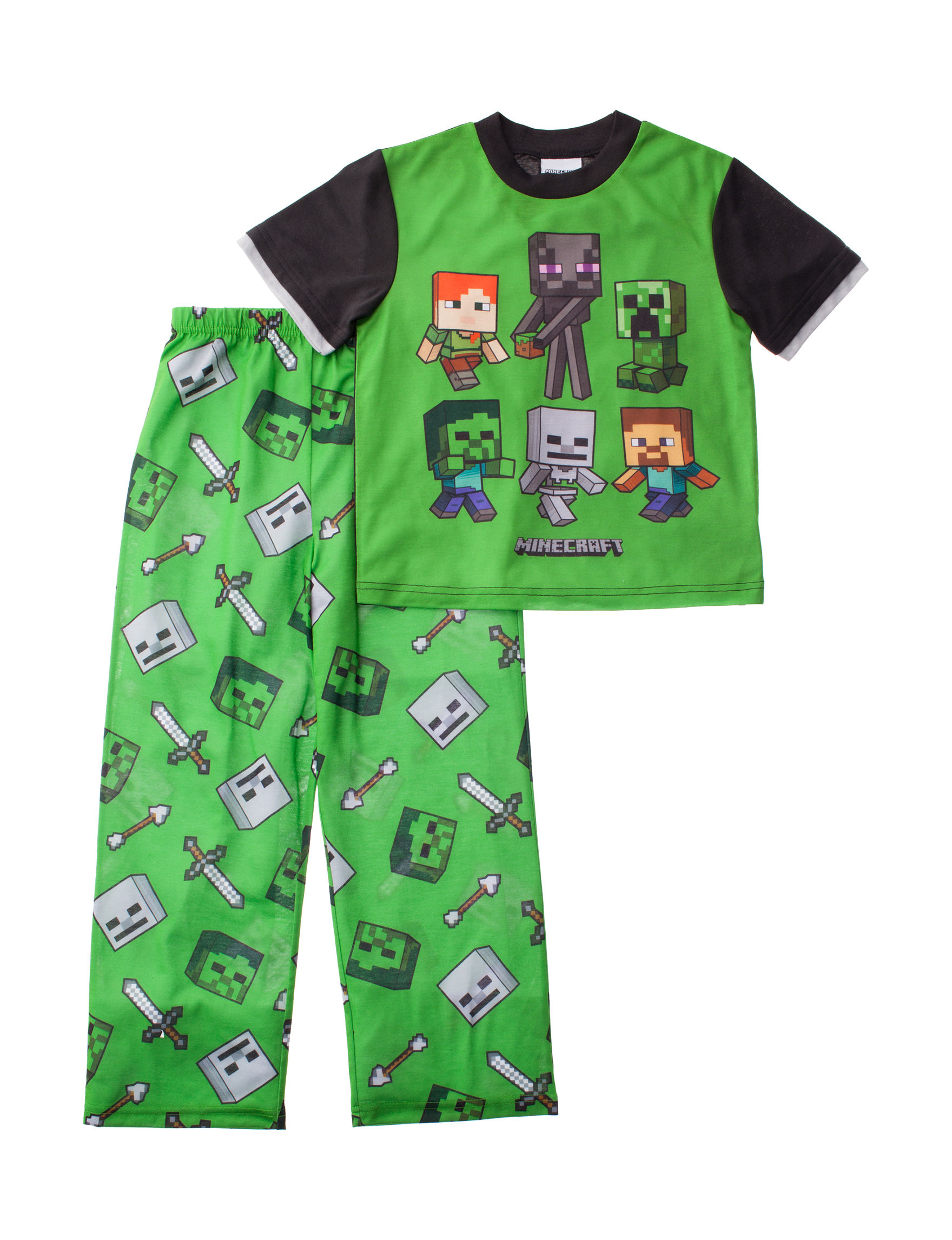 Licensed Green / Black Pajama Sets
