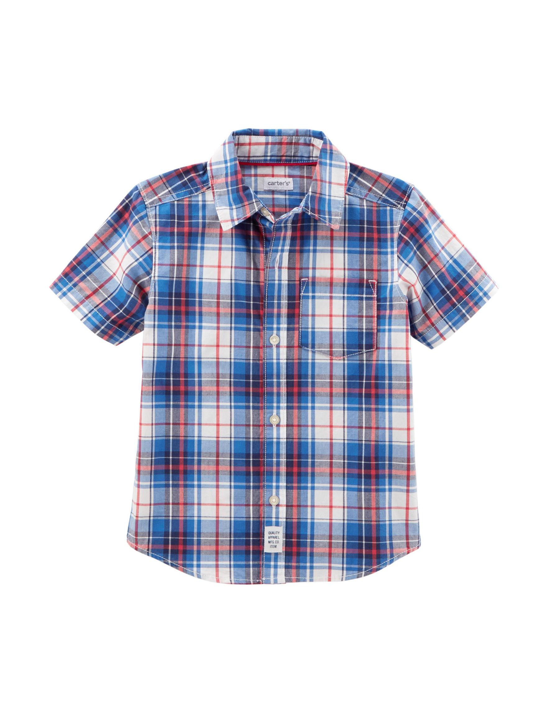 Carter's Blue Plaid Casual Button Down Shirts