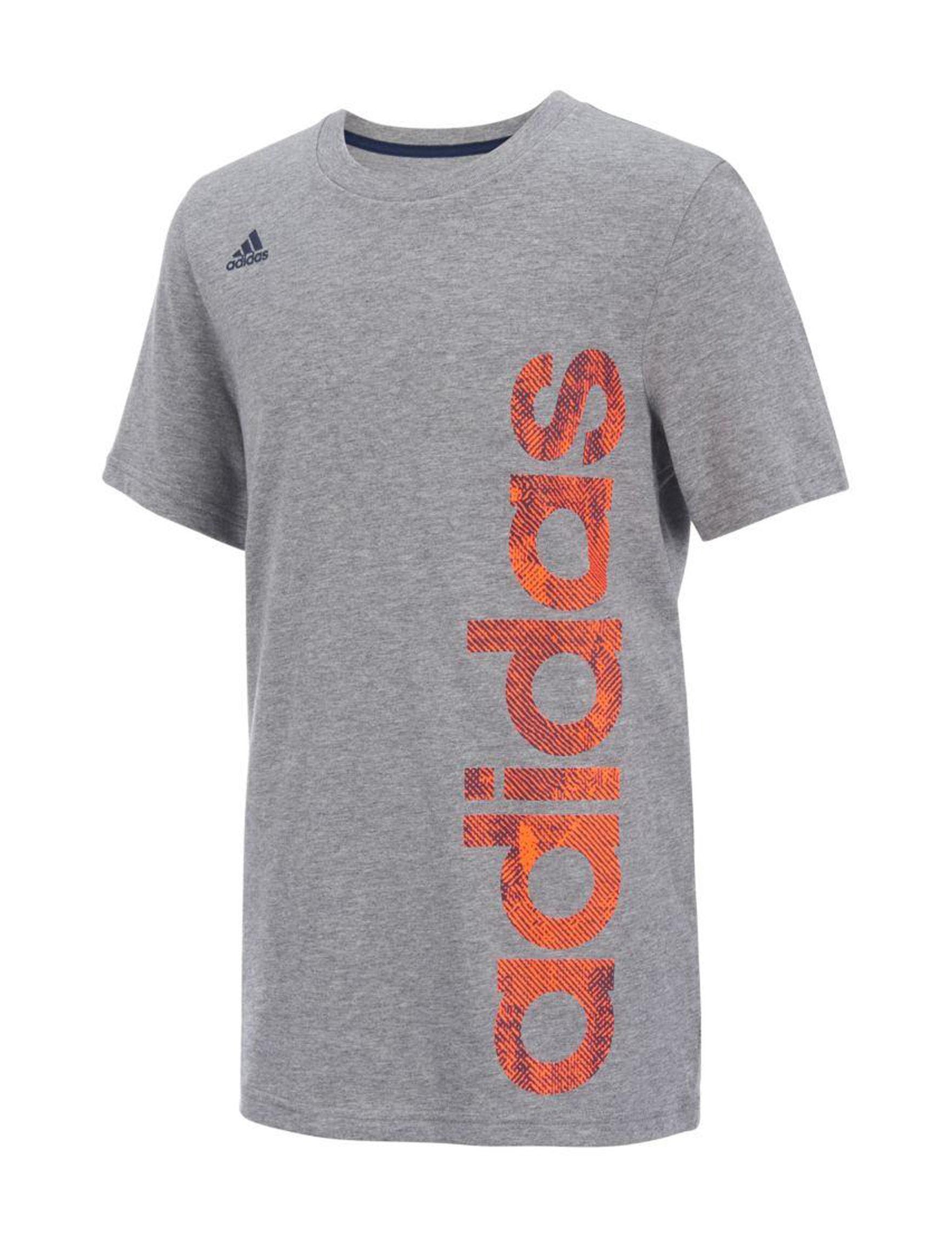 Adidas Grey / Red Tees & Tanks