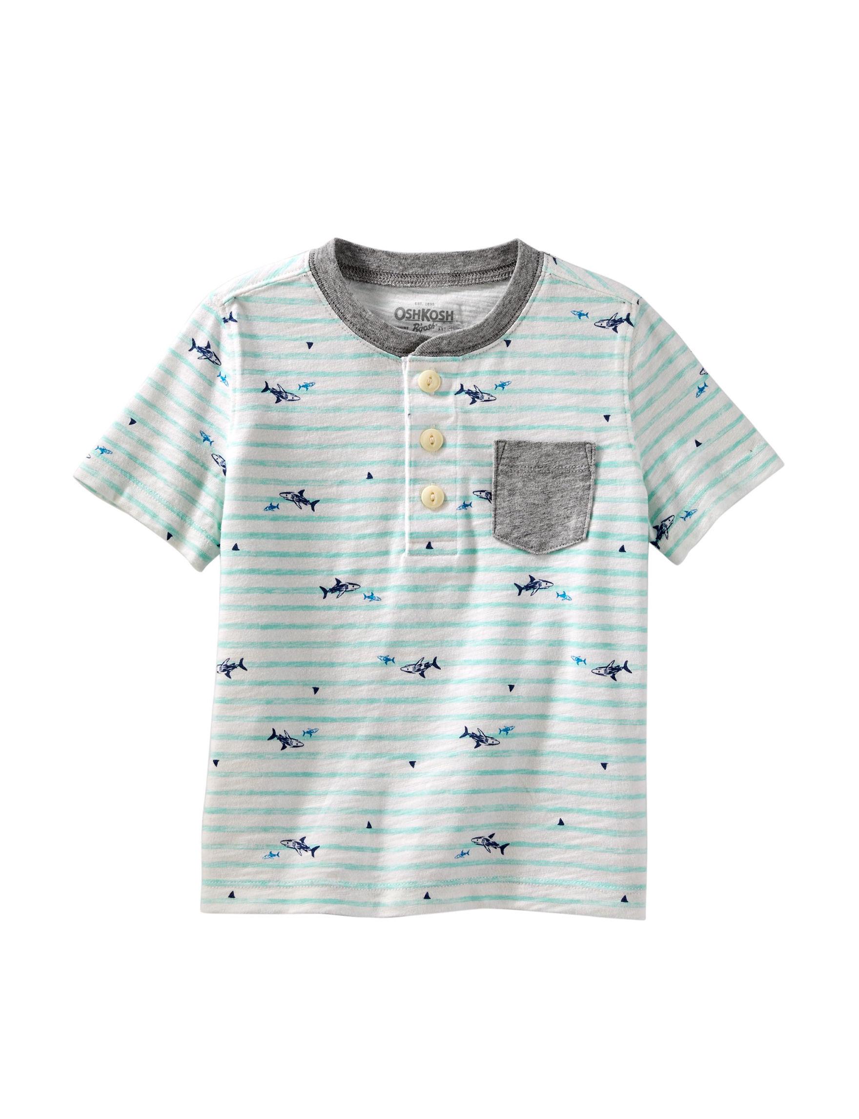 de4e32a4 OshKosh B'gosh Striped Shark Henley T-Shirt - Toddler Boys   Stage ...
