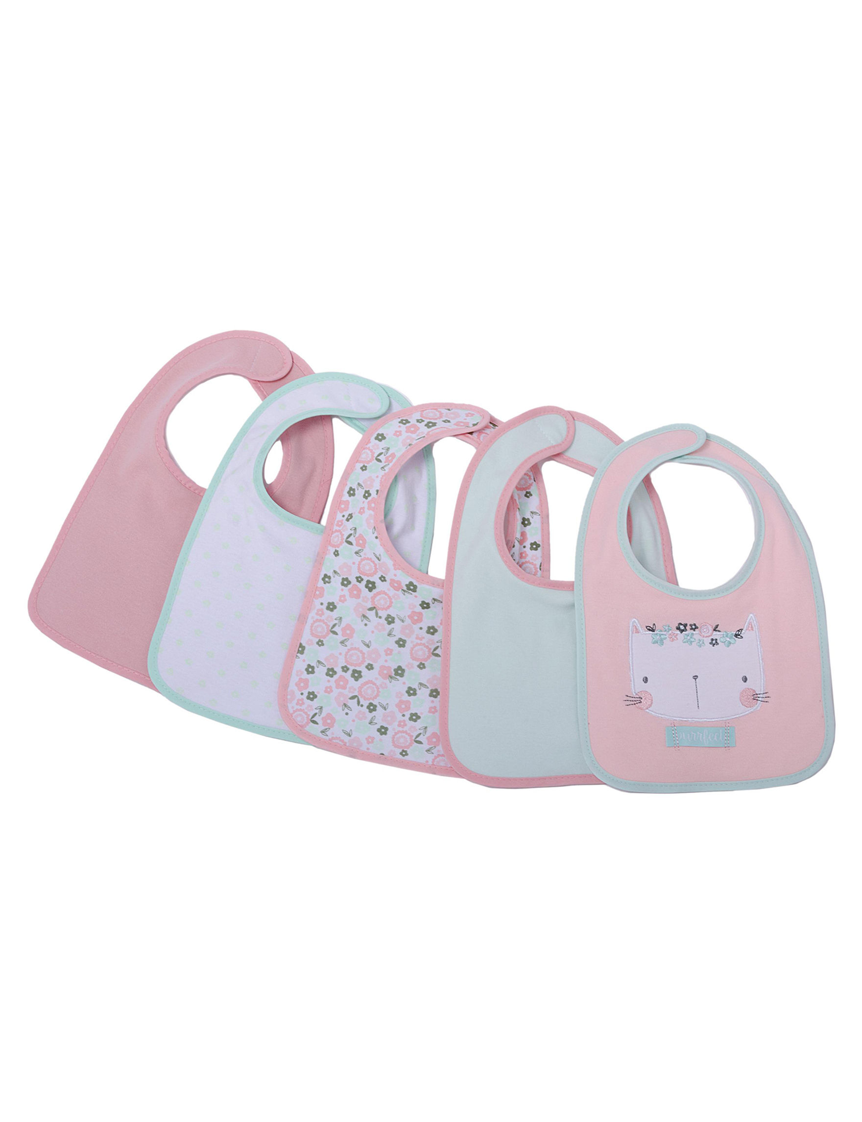 Cutie Pie Coral Bibs & Burp Cloths
