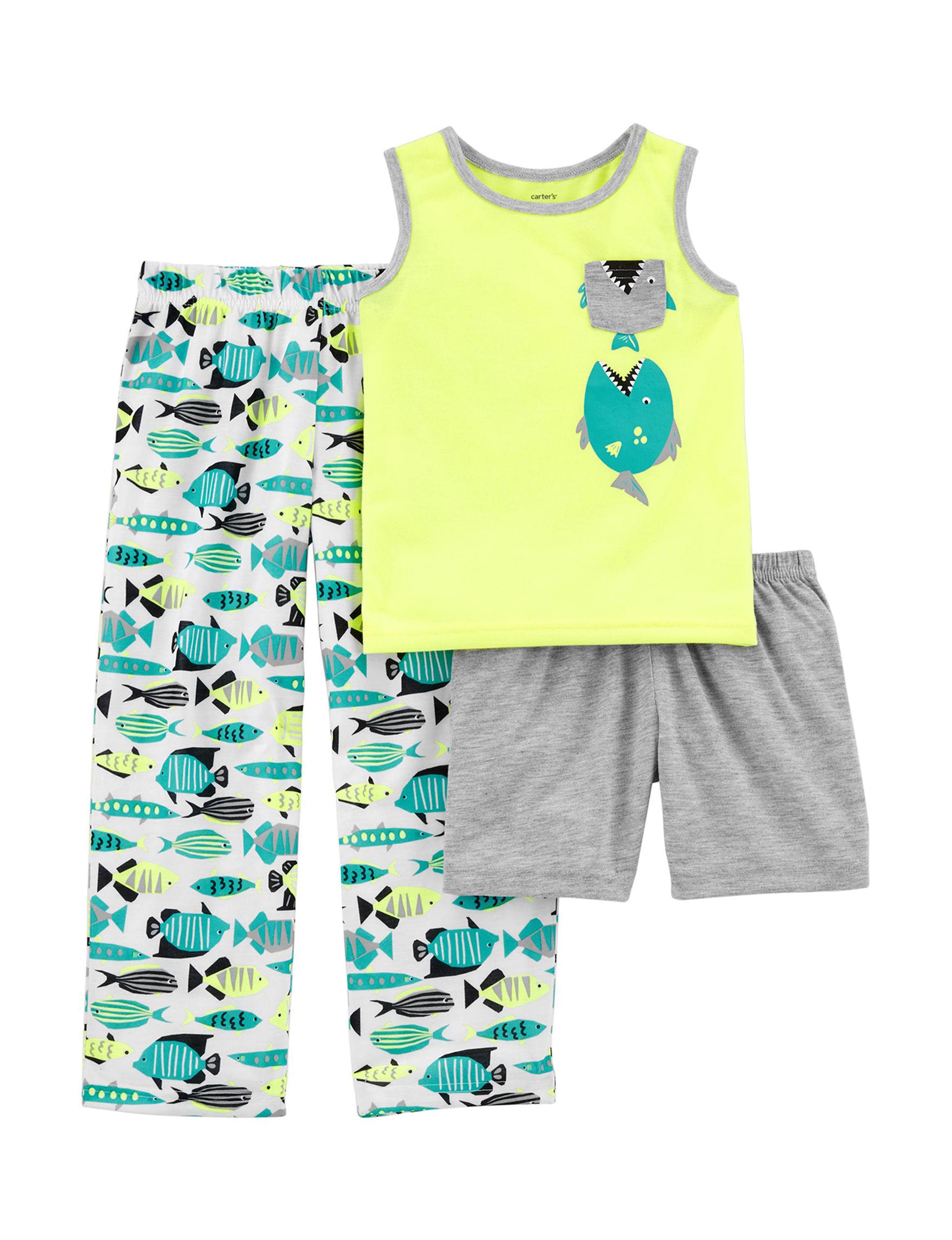 Carter's Yellow / Turquoise Pajama Sets