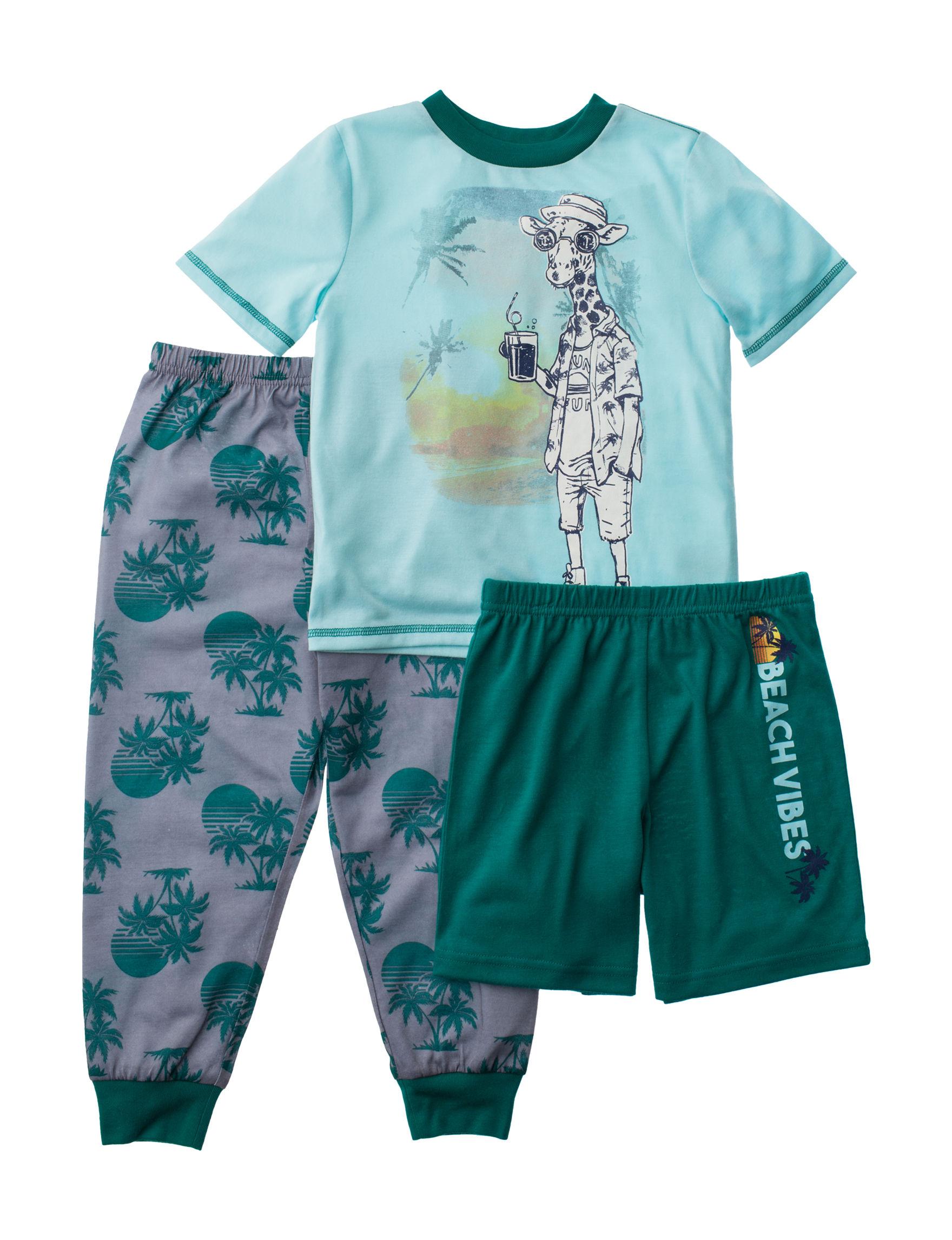 Komar Kids Green / Grey Pajama Sets