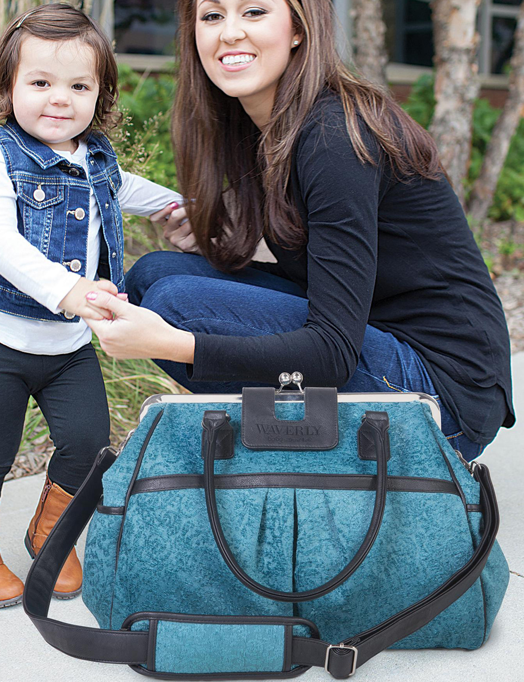 Trend Lab Teal / Black Diaper Bags