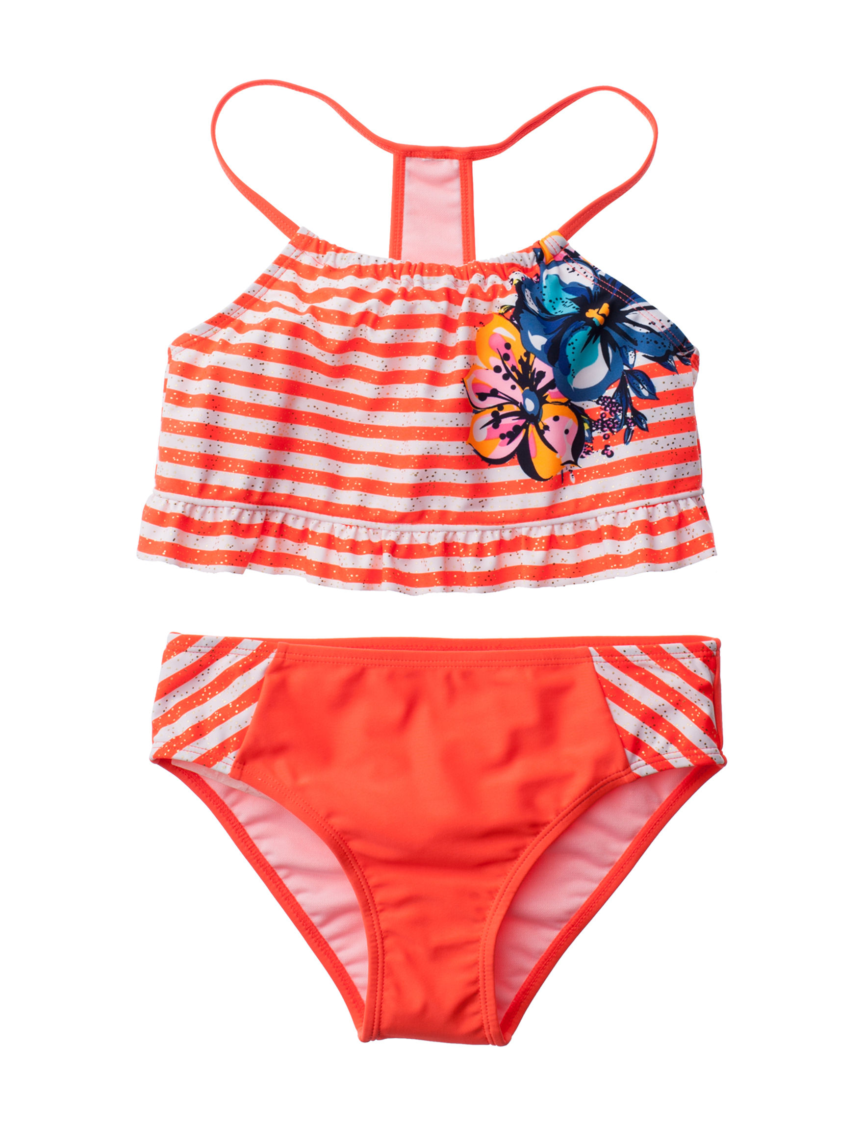 Limited Too Coral / White Swimsuit Sets