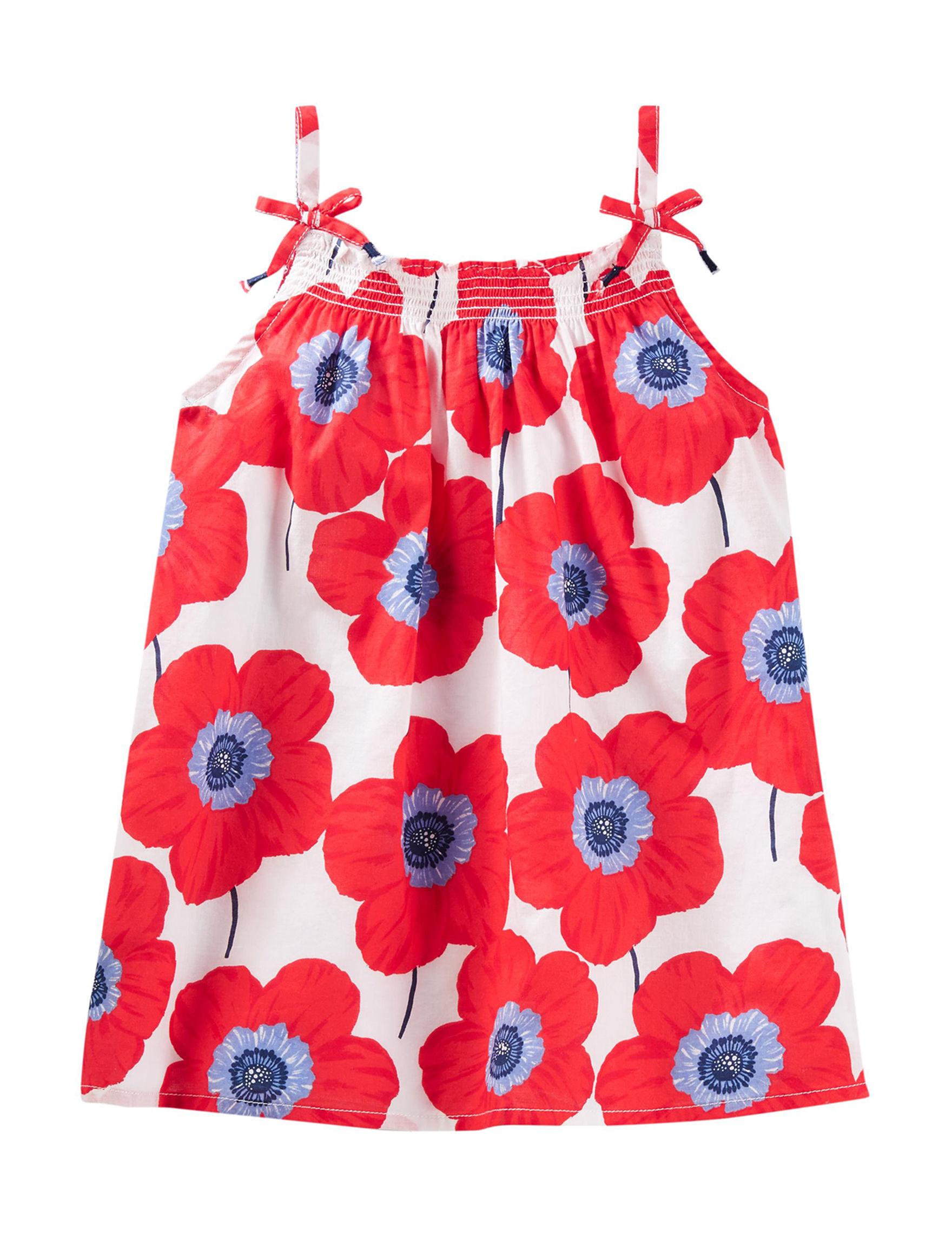 Oshkosh B'Gosh Red Floral Tees & Tanks