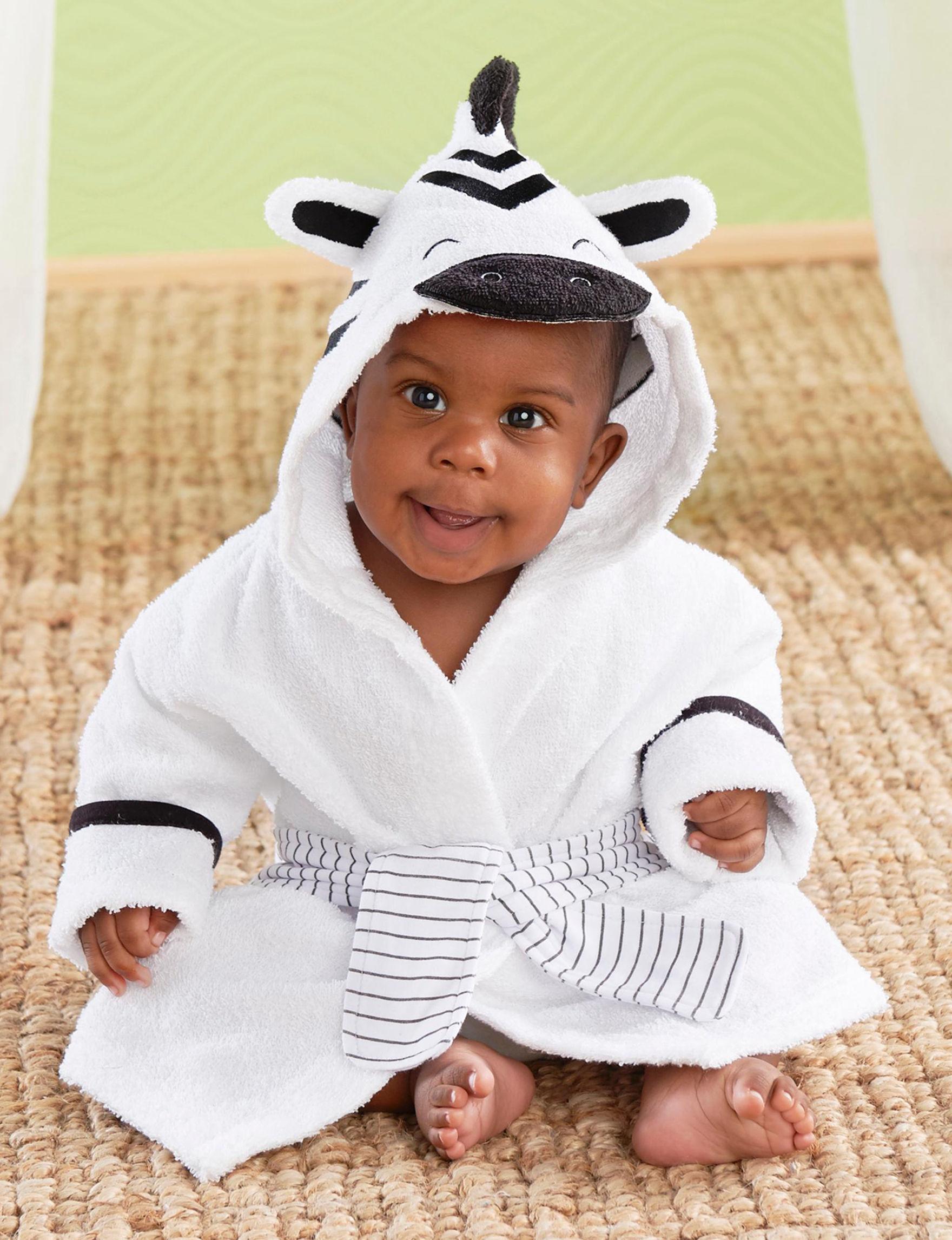 Baby Aspen White / Black Baby Robes