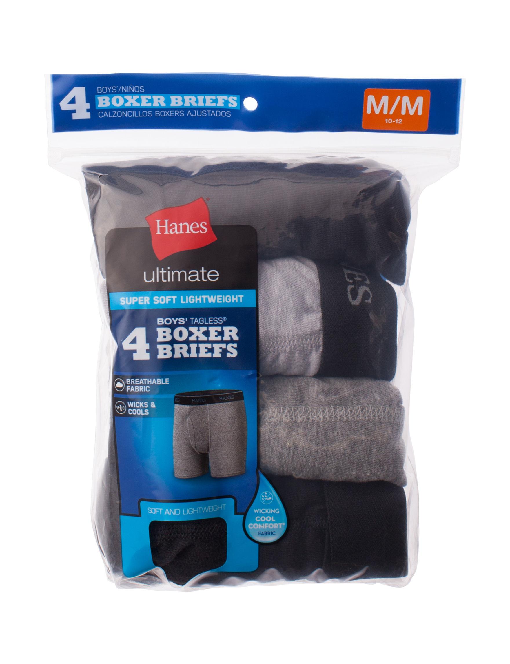 Hanes Grey / Black Boxer Briefs