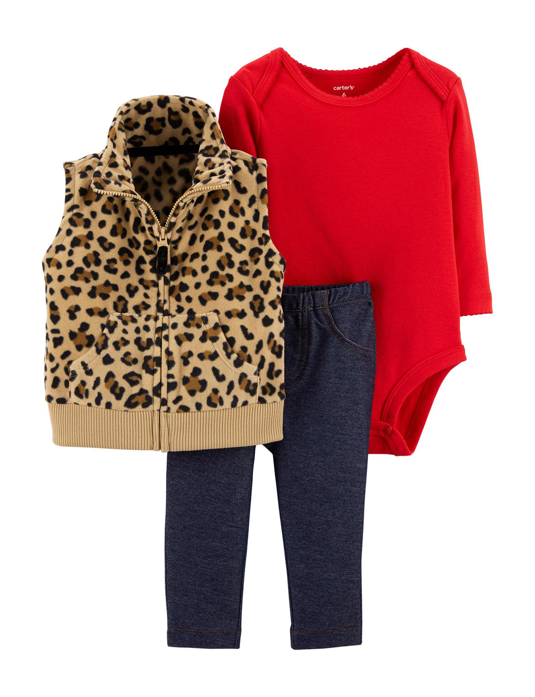 Carter S 3 Pc Leopard Vest Bodysuit Pants Set Baby 3 18 Mos
