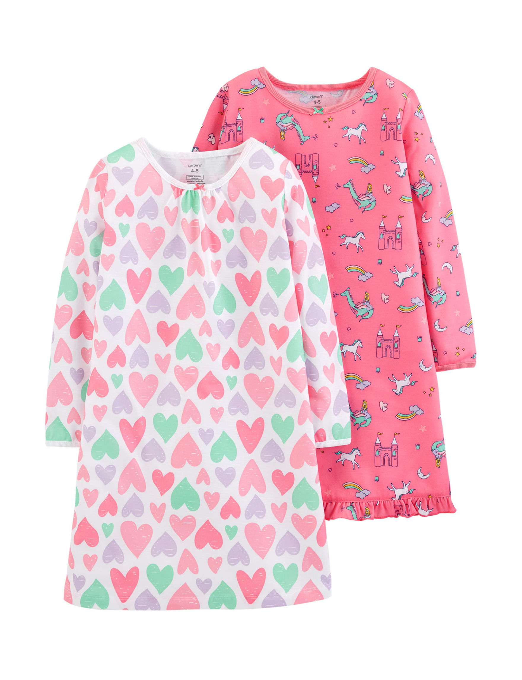 Carter's Pink Multi Nightgowns & Sleep Shirts
