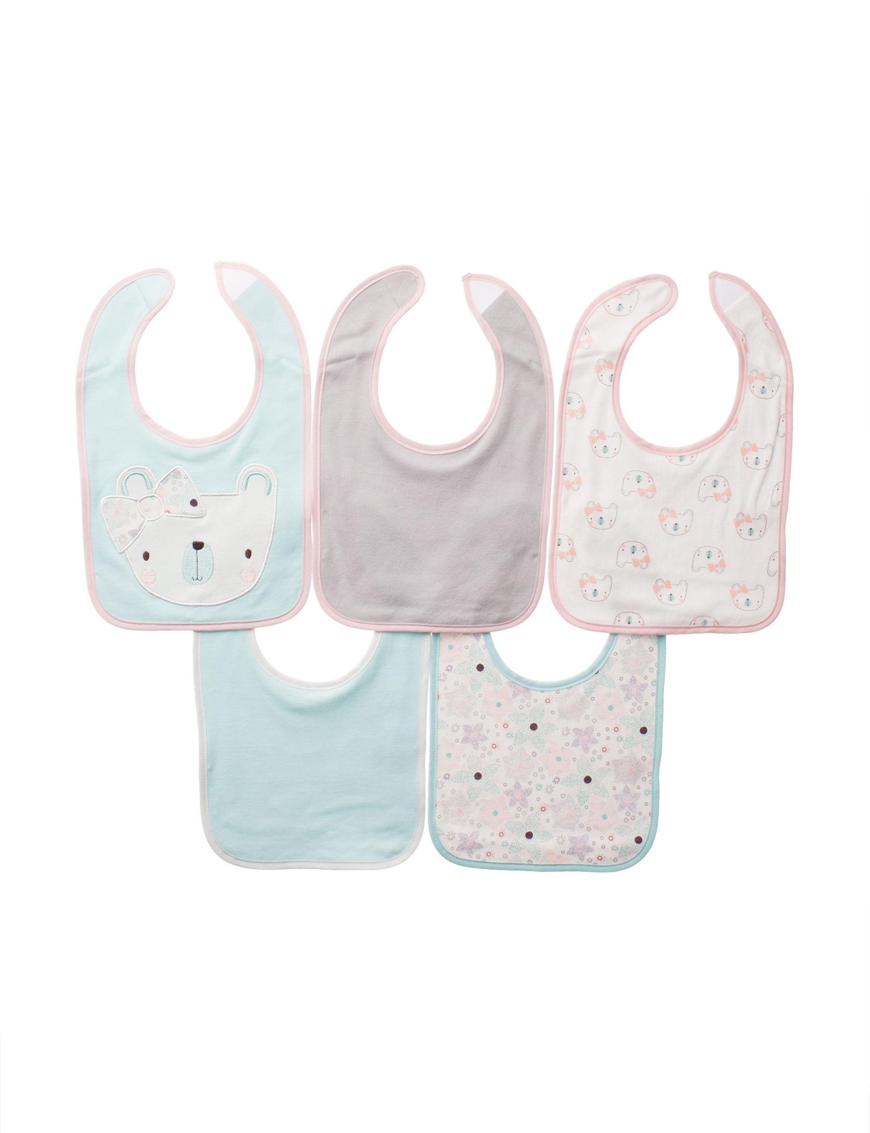 Cutie Pie Mint / White / /Pink Bibs & Burp Cloths