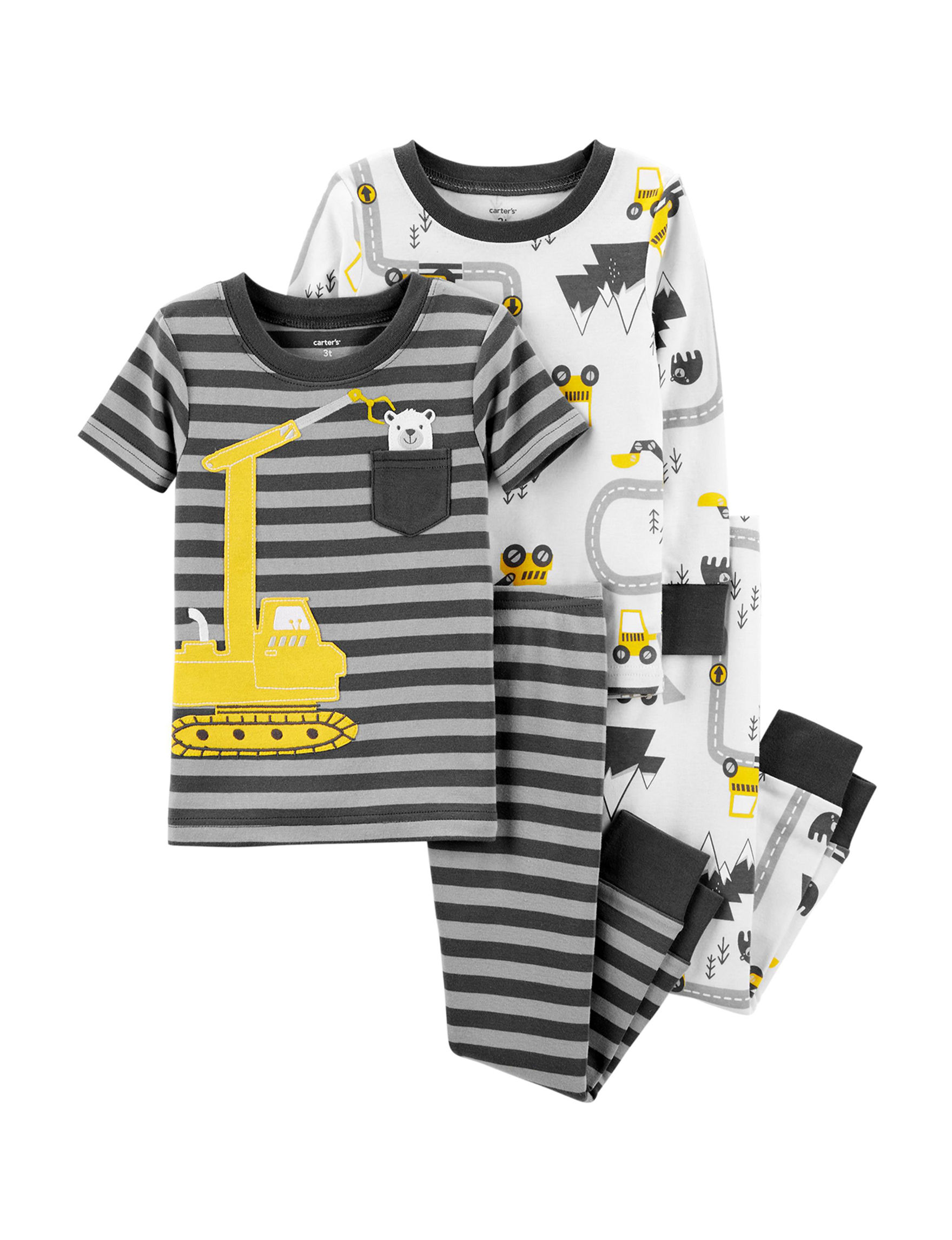 Carter's Black/White/Yellow Pajama Sets