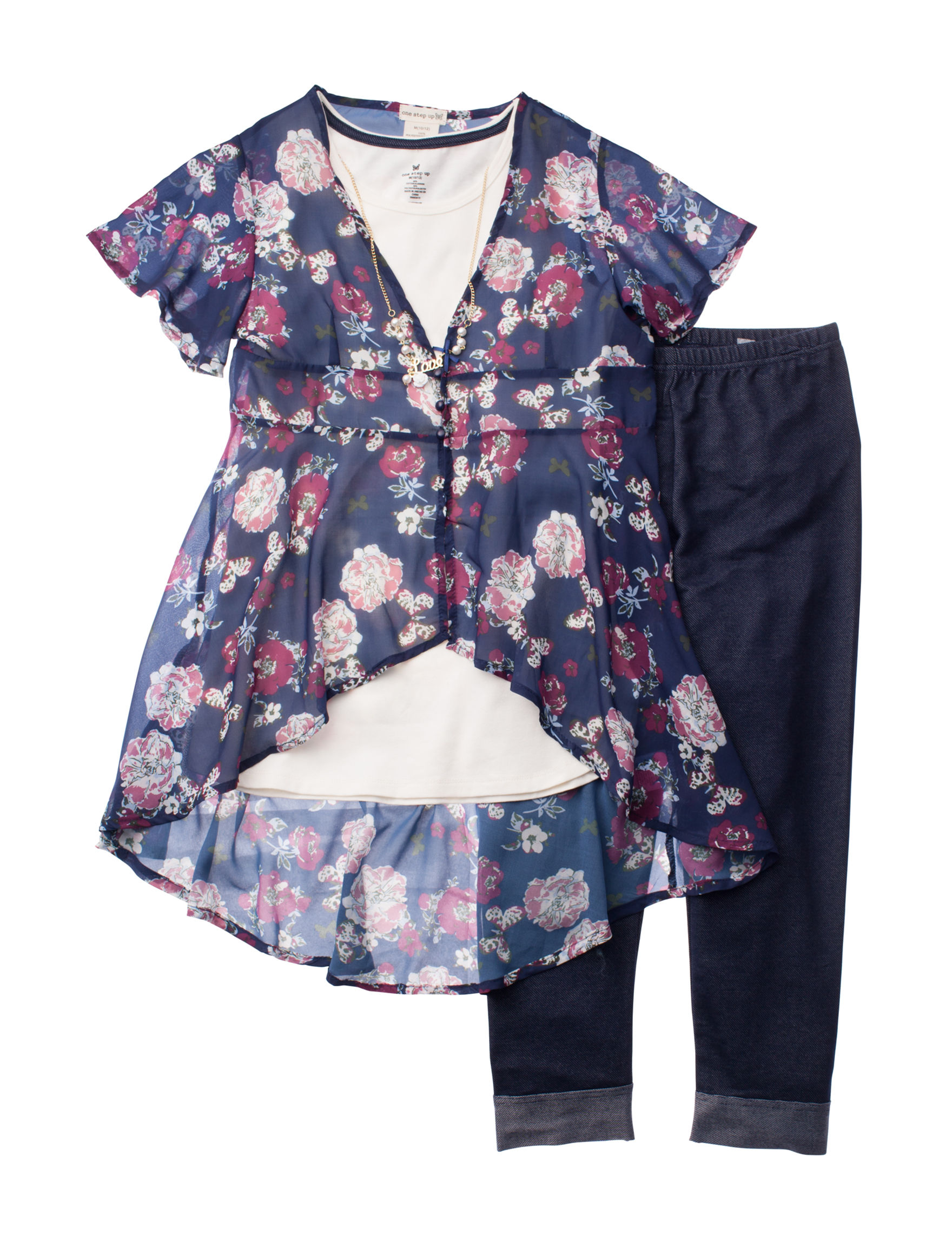 One Step Up Navy Floral
