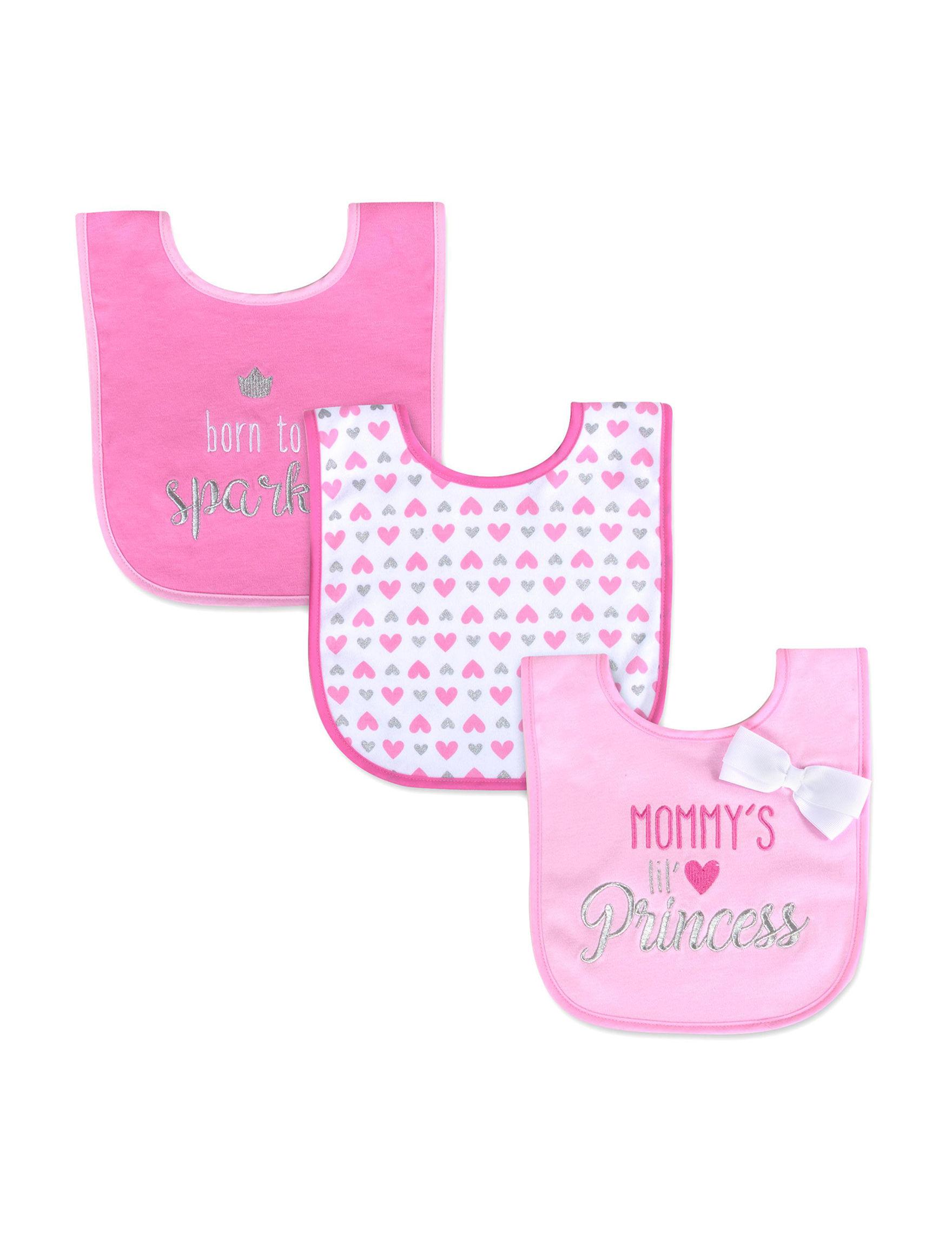 Baby Essentials Pink Bibs & Burp Cloths