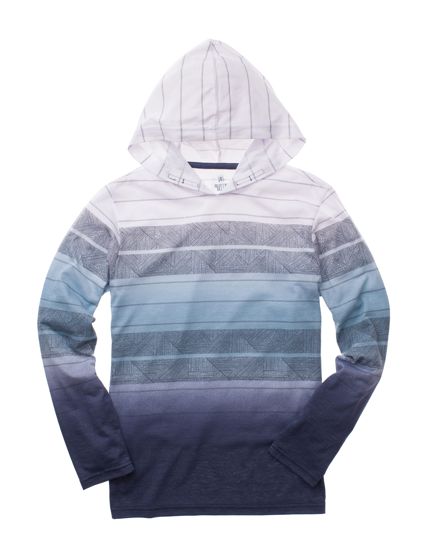 61d16e9eb0d Rustic Blue Ombre Striped Hooded T-shirt - Boys 8-20