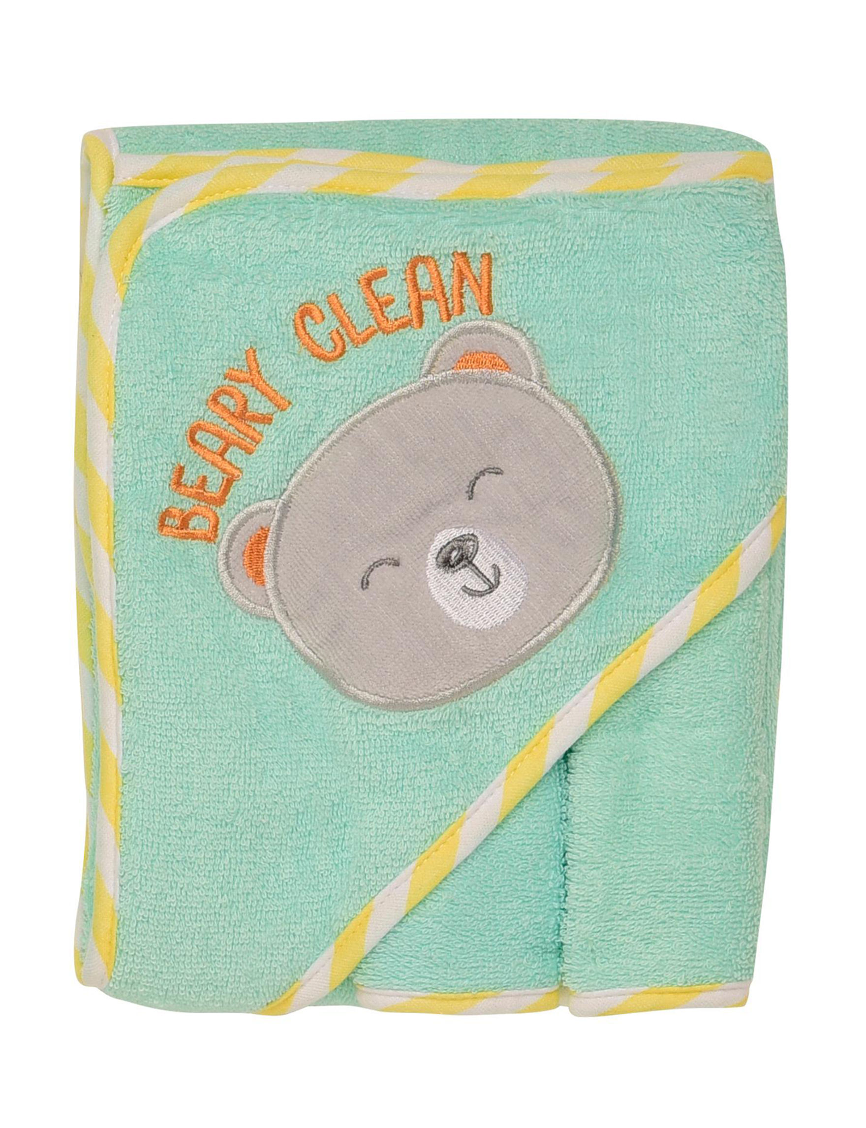 Baby Starters Light Green Hooded Towels Washcloths