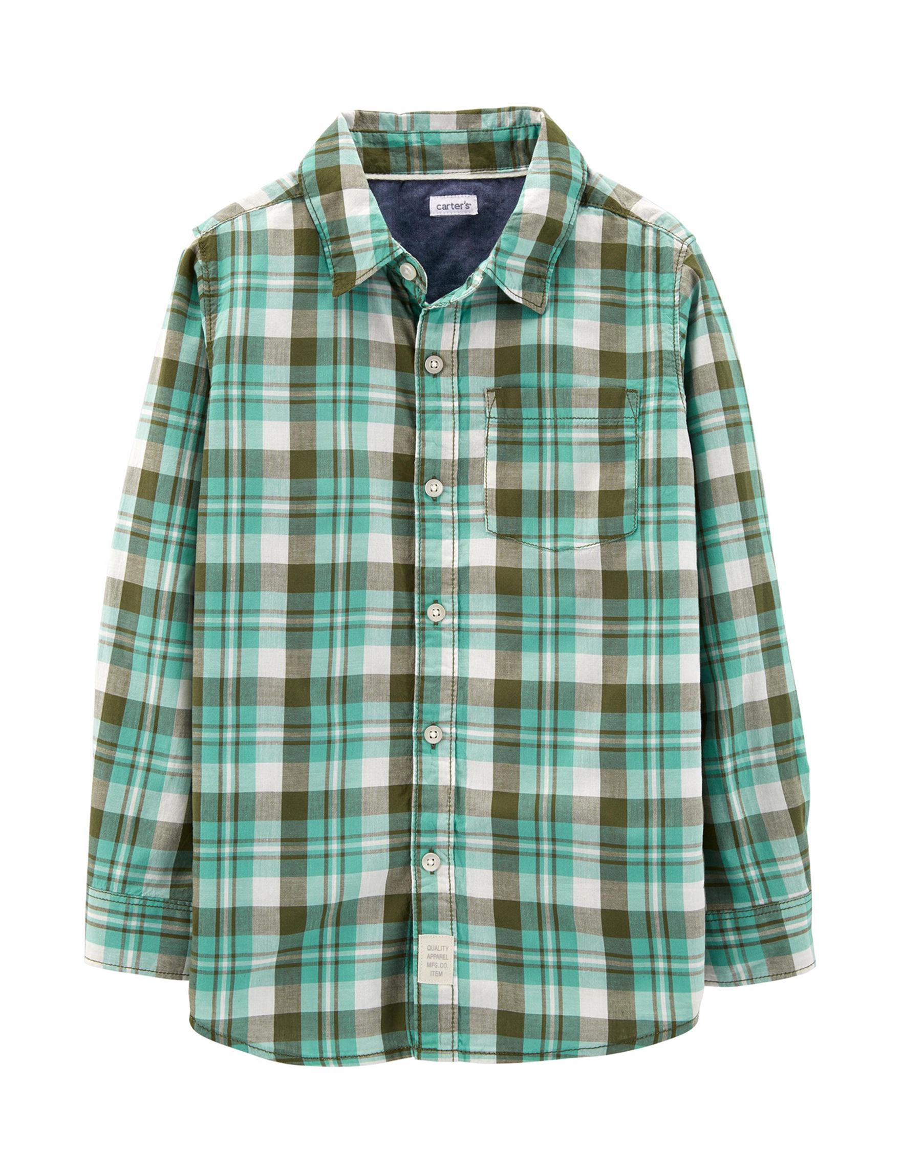 Carter's Green Plaid Casual Button Down Shirts