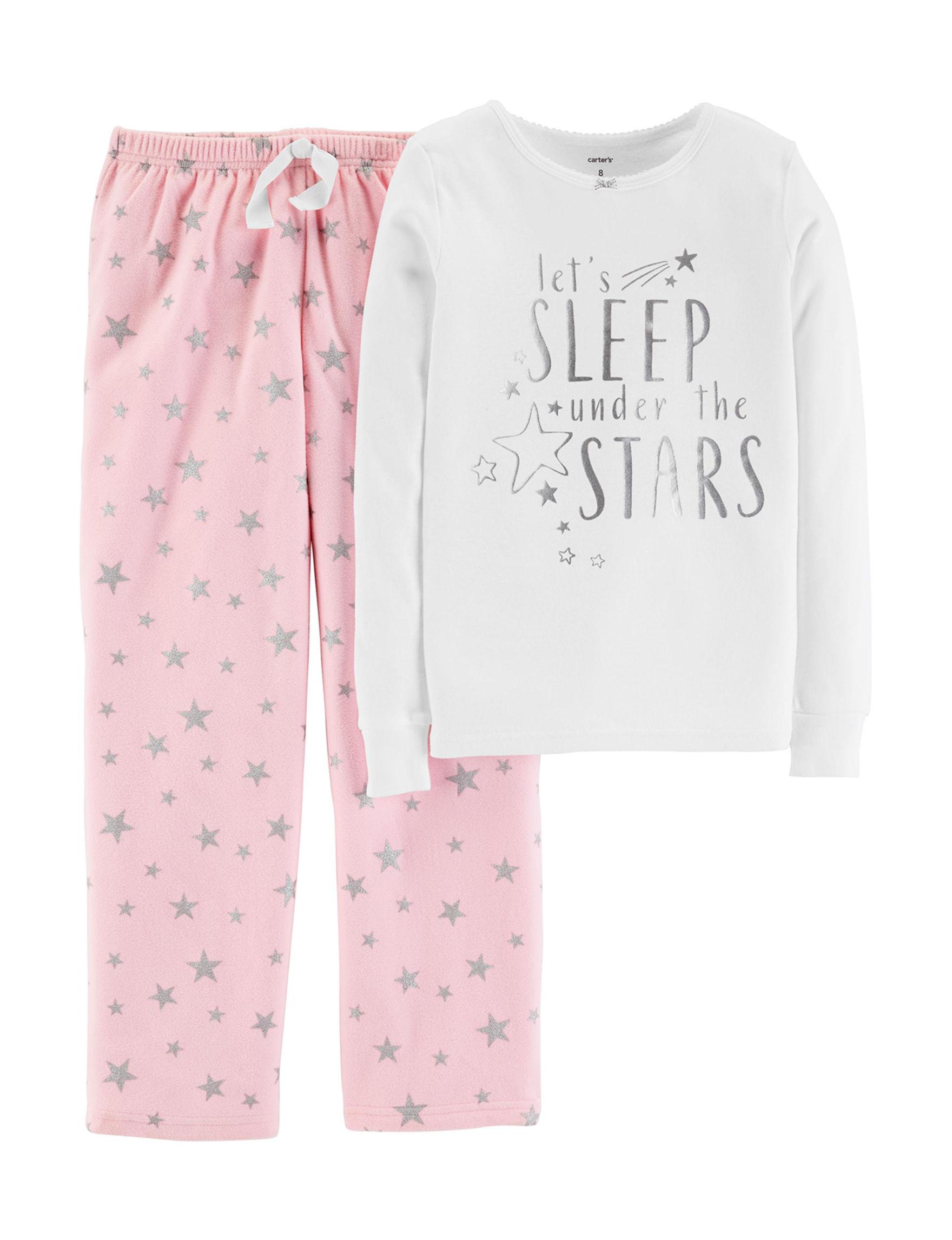 Carter's White / Pink Pajama Sets