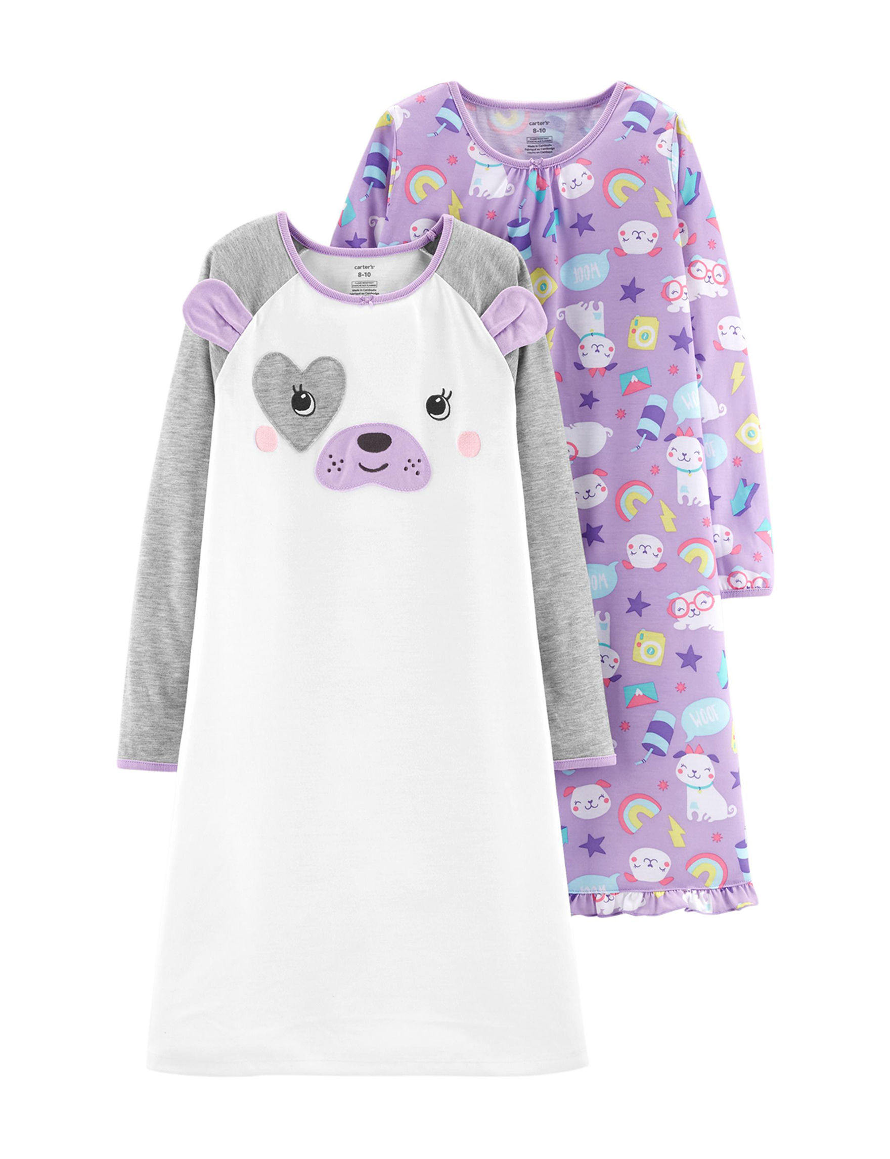 Carter's White / Purple Nightgowns & Sleep Shirts