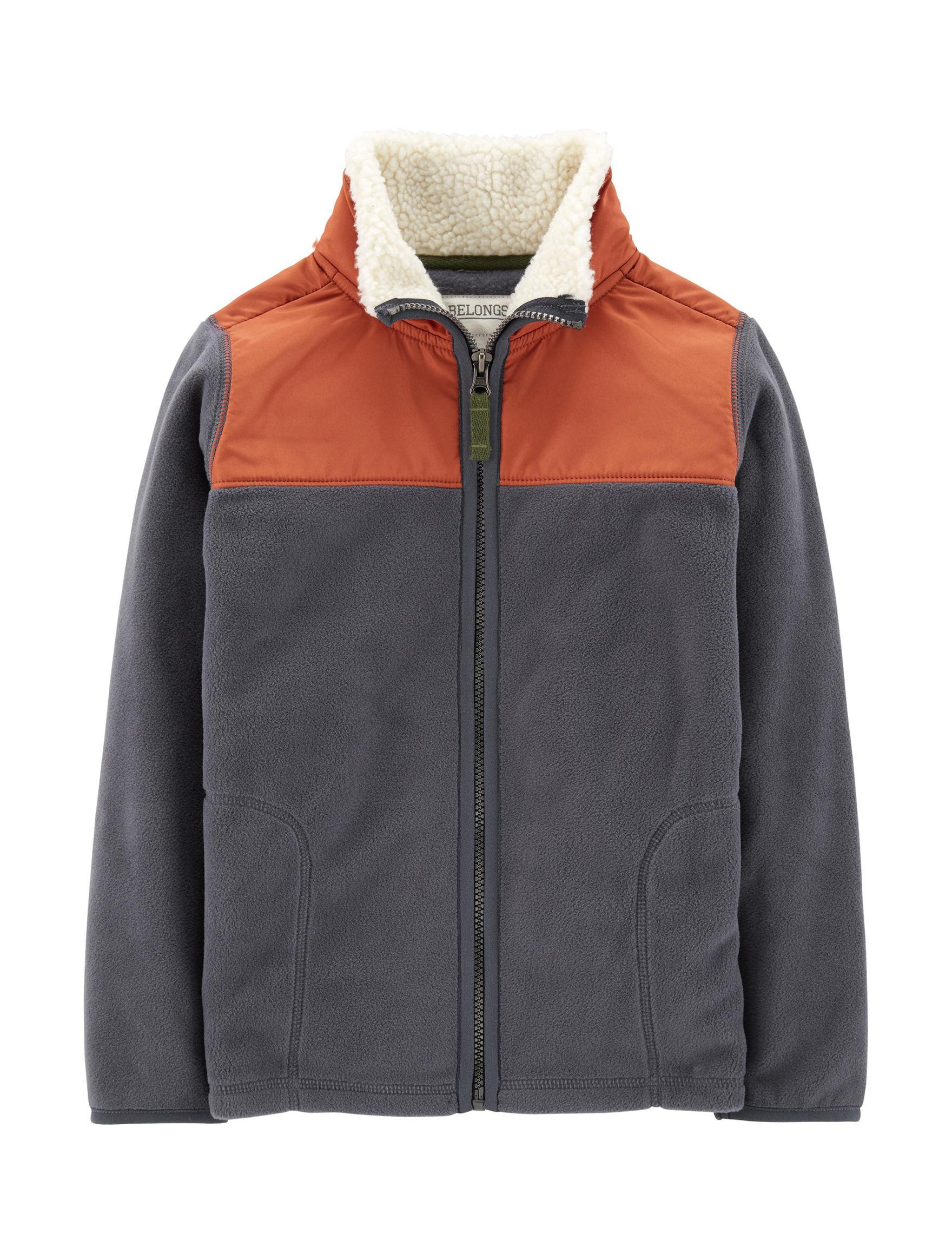 Carter's Navy Heather Fleece & Soft Shell Jackets