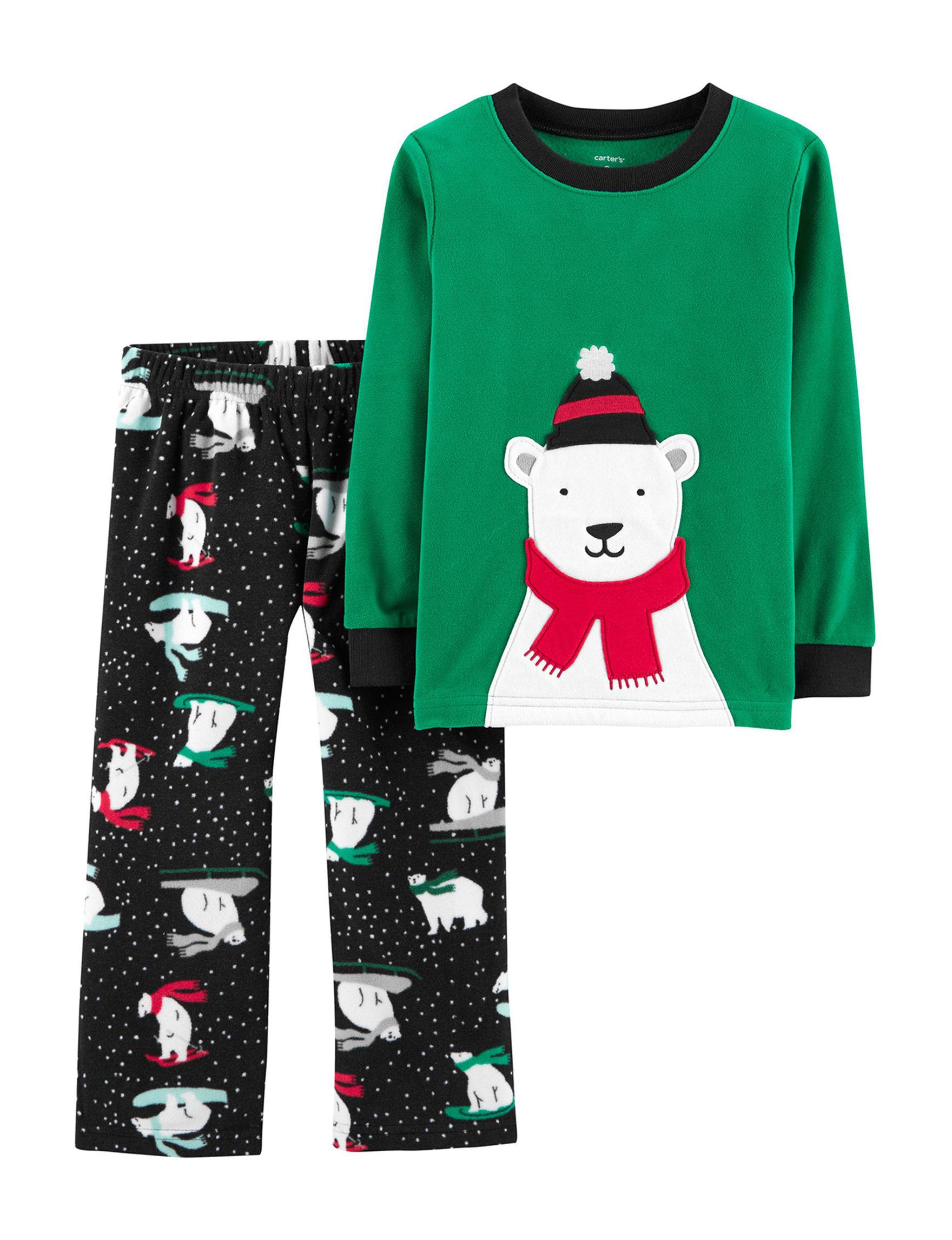 Carter's Green / Black Pajama Sets