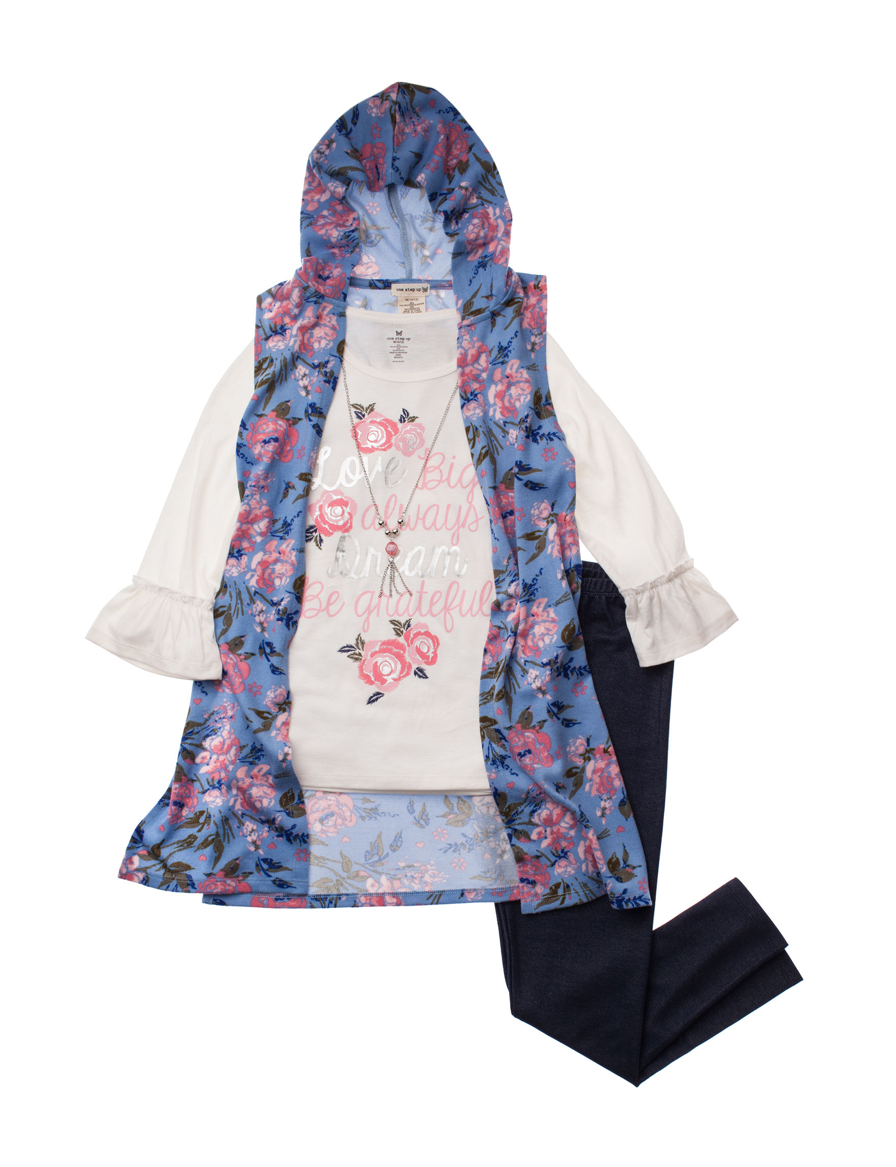 One Step Up Blue Floral