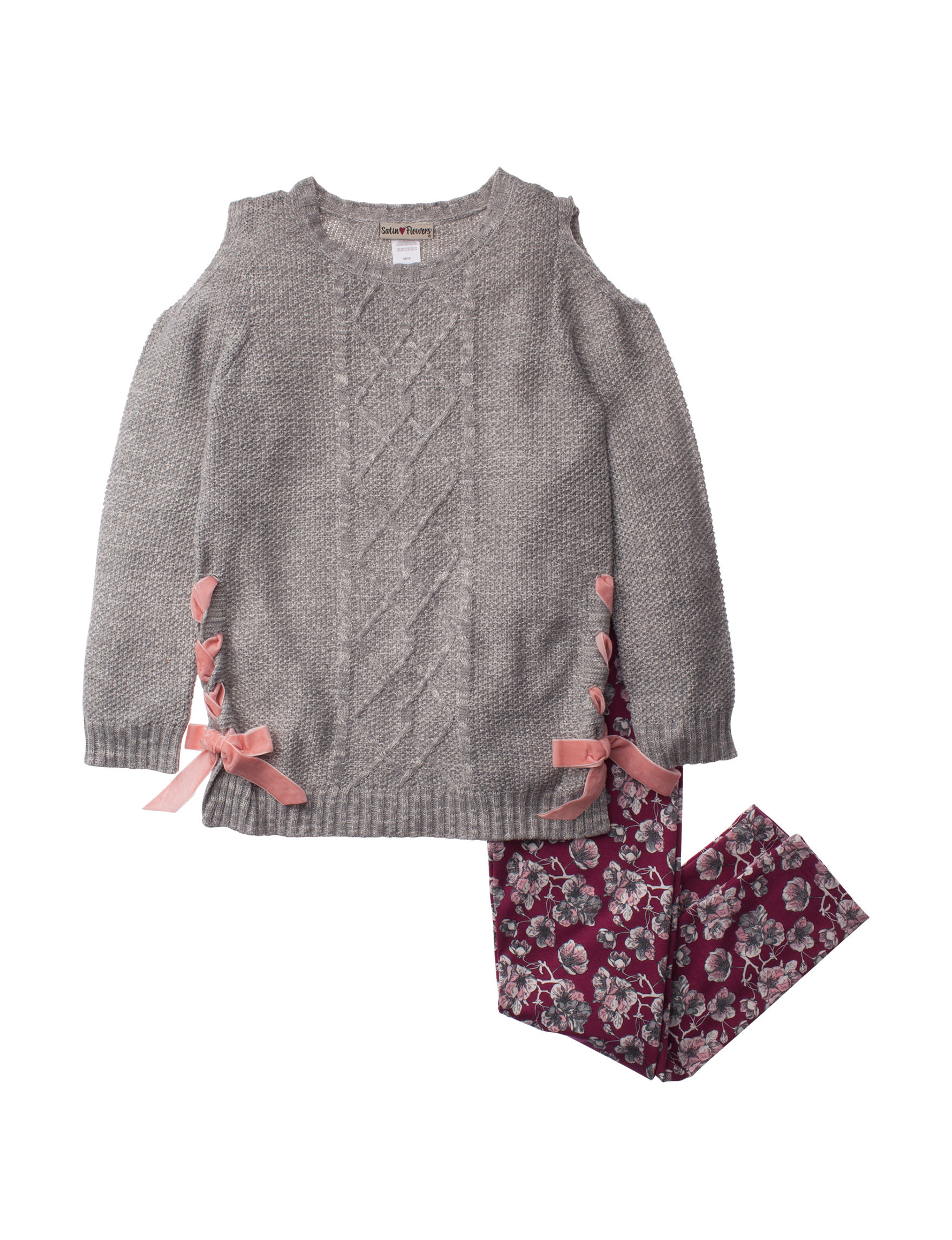 Satin Flowers Grey / Pink Leggings