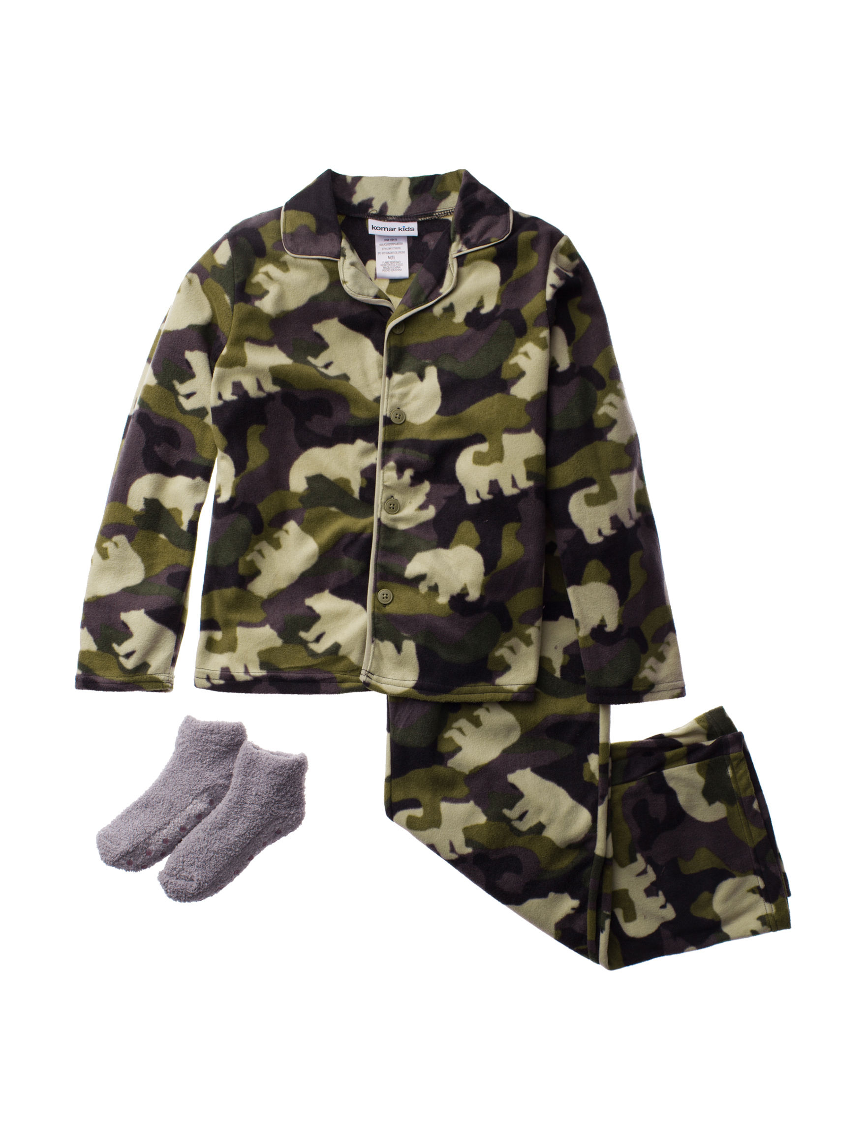 Komar Kids Green Camo Pajama Sets