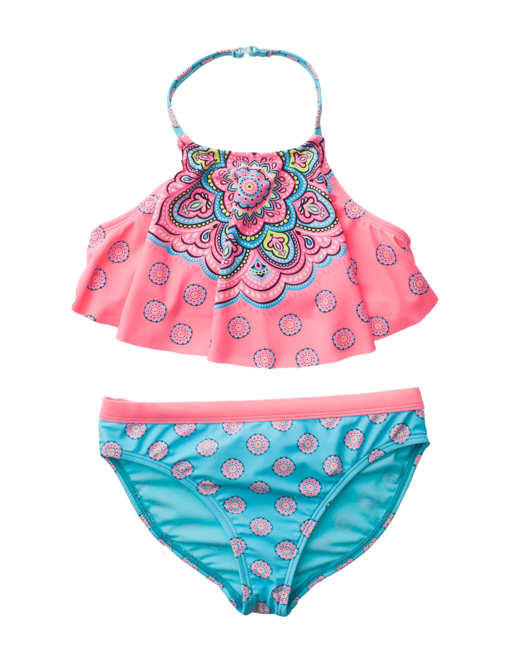 Angel Beach Pink Multi Swimsuit Bottoms Swimsuit Tops Halter