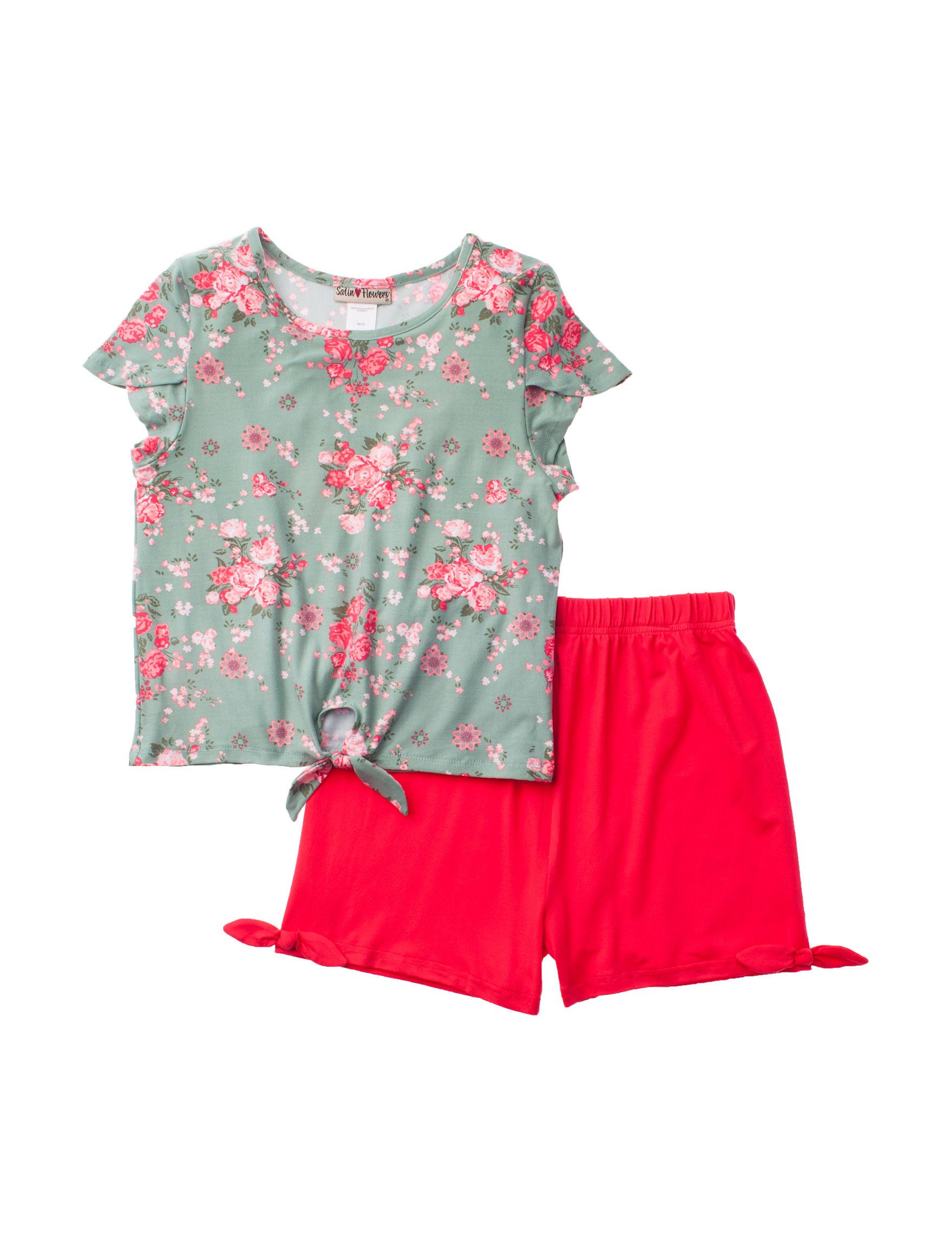 Satin Flowers Coral Tees & Tanks