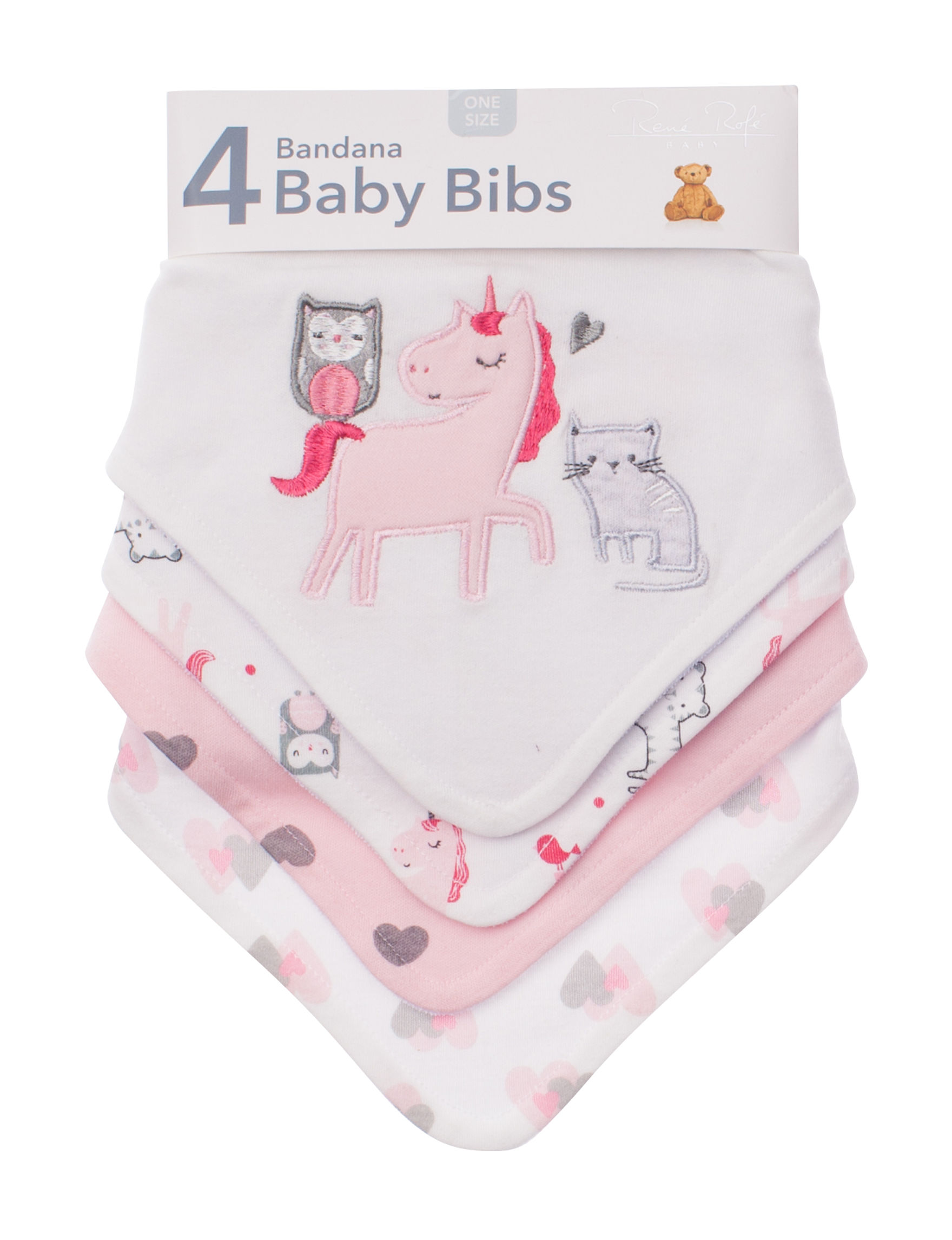 Rene Rofe White / Pink / Grey Bibs & Burp Cloths
