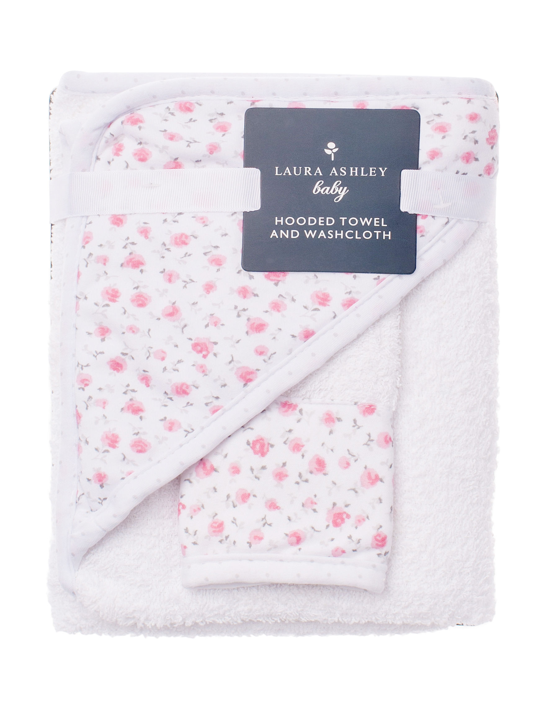 Laura Ashley White Floral Hooded Towels