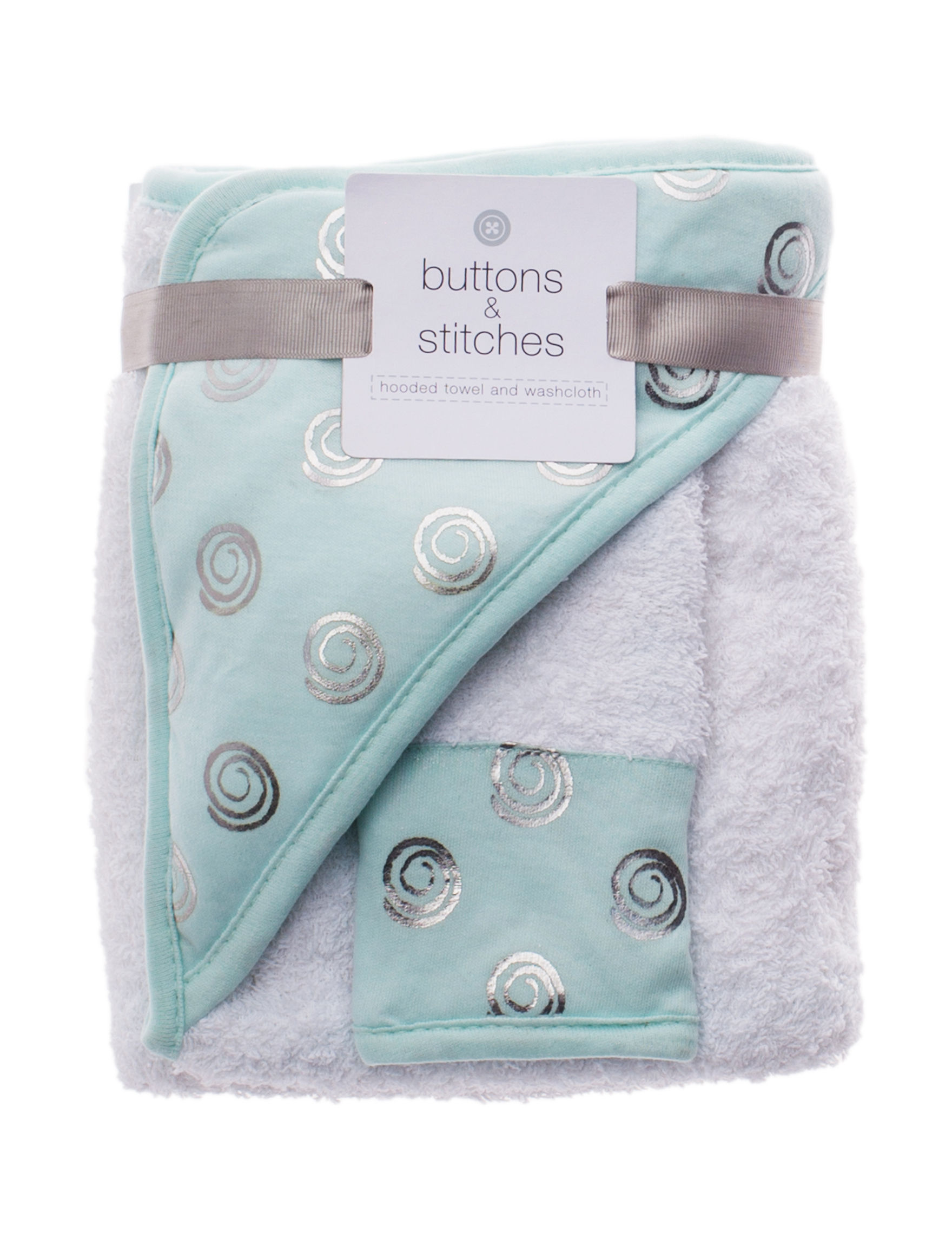 Buttons & Stitches Mint Hooded Towels Washcloths