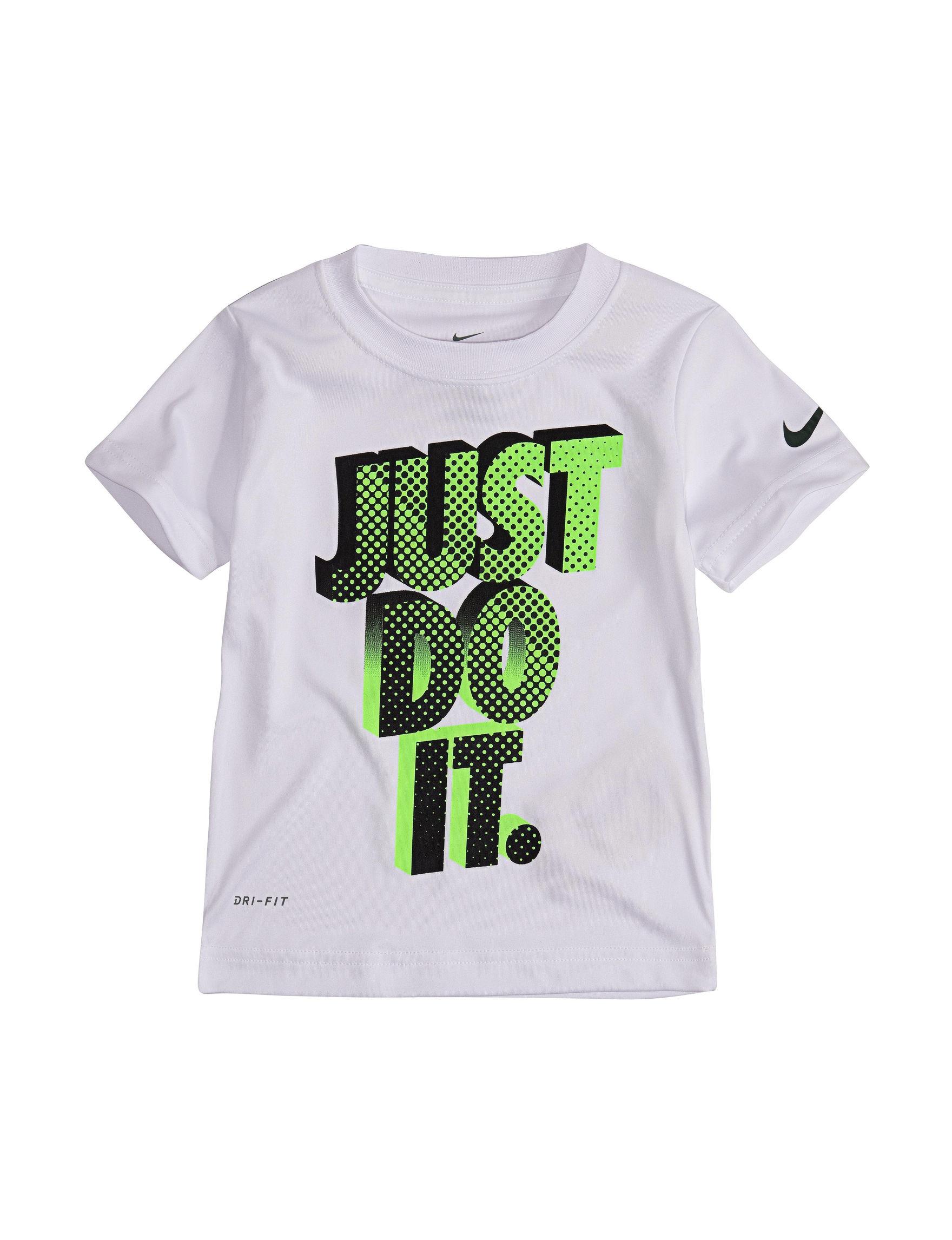 Nike White / Green Tees & Tanks
