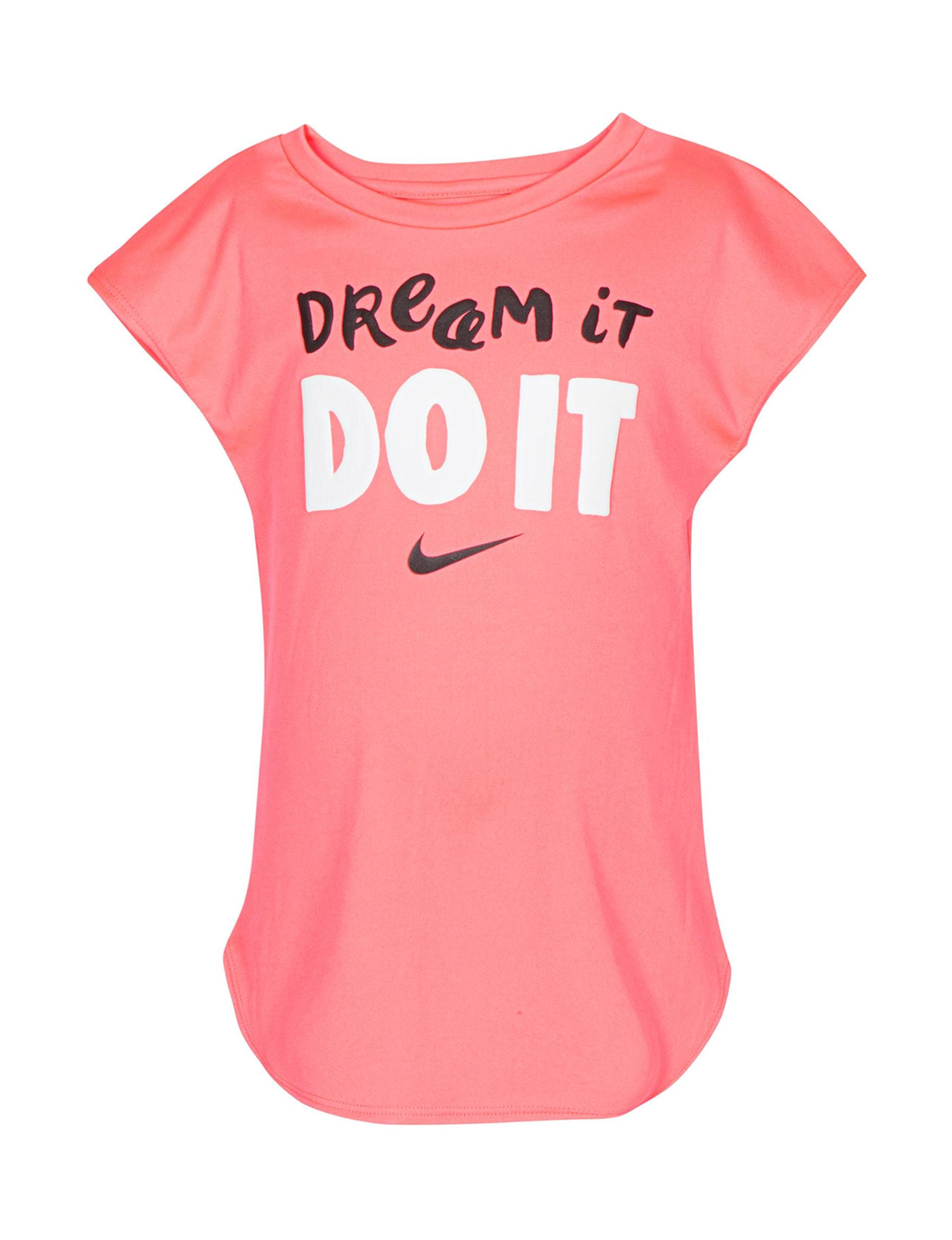 Nike Pink / Black / White Tees & Tanks